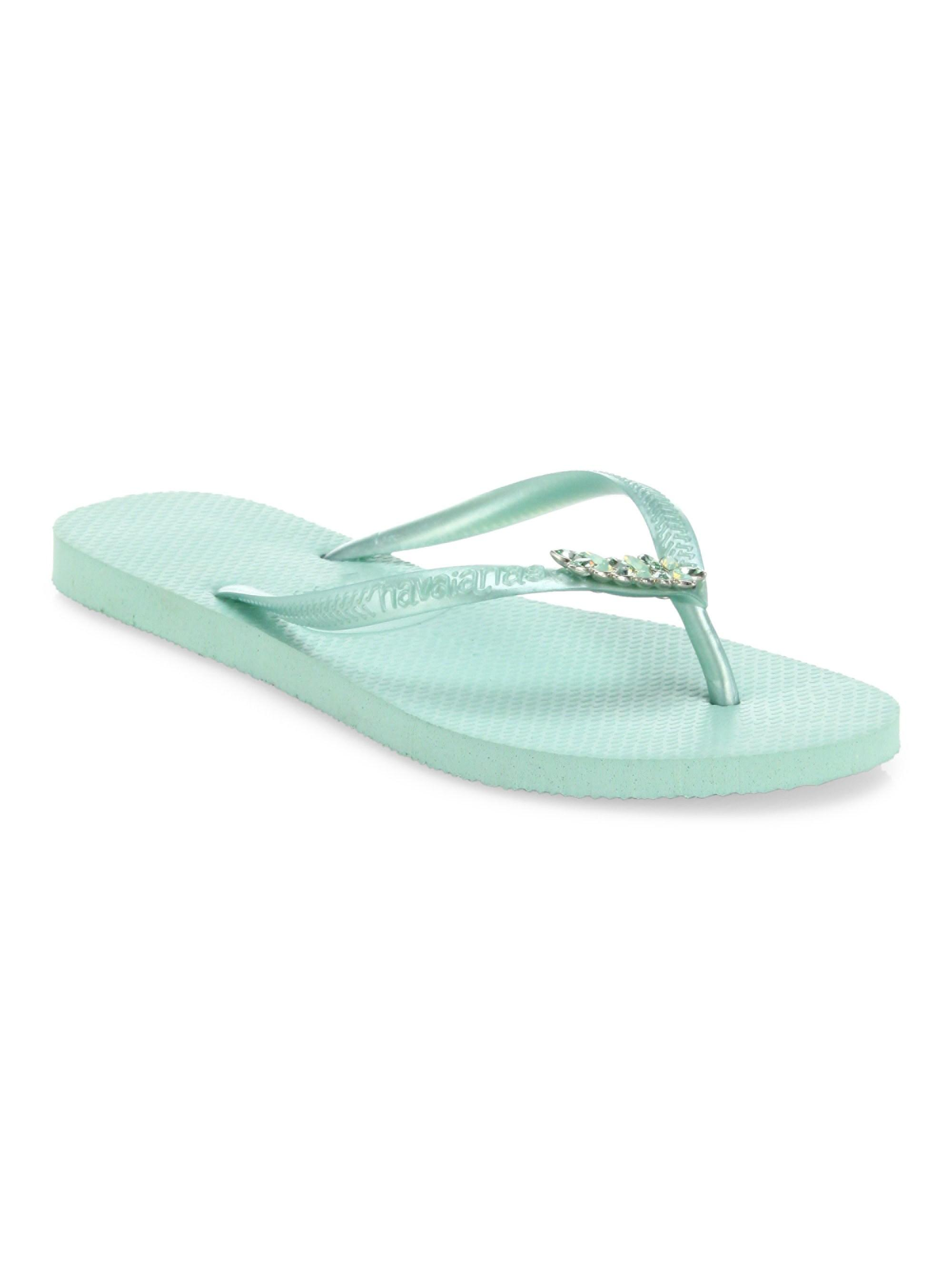 d1b52bb29 Lyst - Havaianas Women s Slim Lux Swarovski Crystal Flip Flops ...