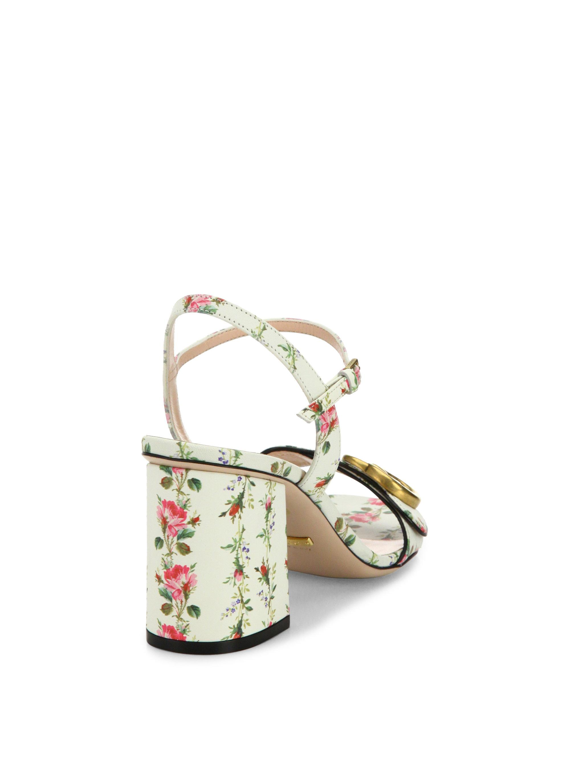 72f20dd1fd51 Lyst - Gucci Floral-print Leather Sandals in White