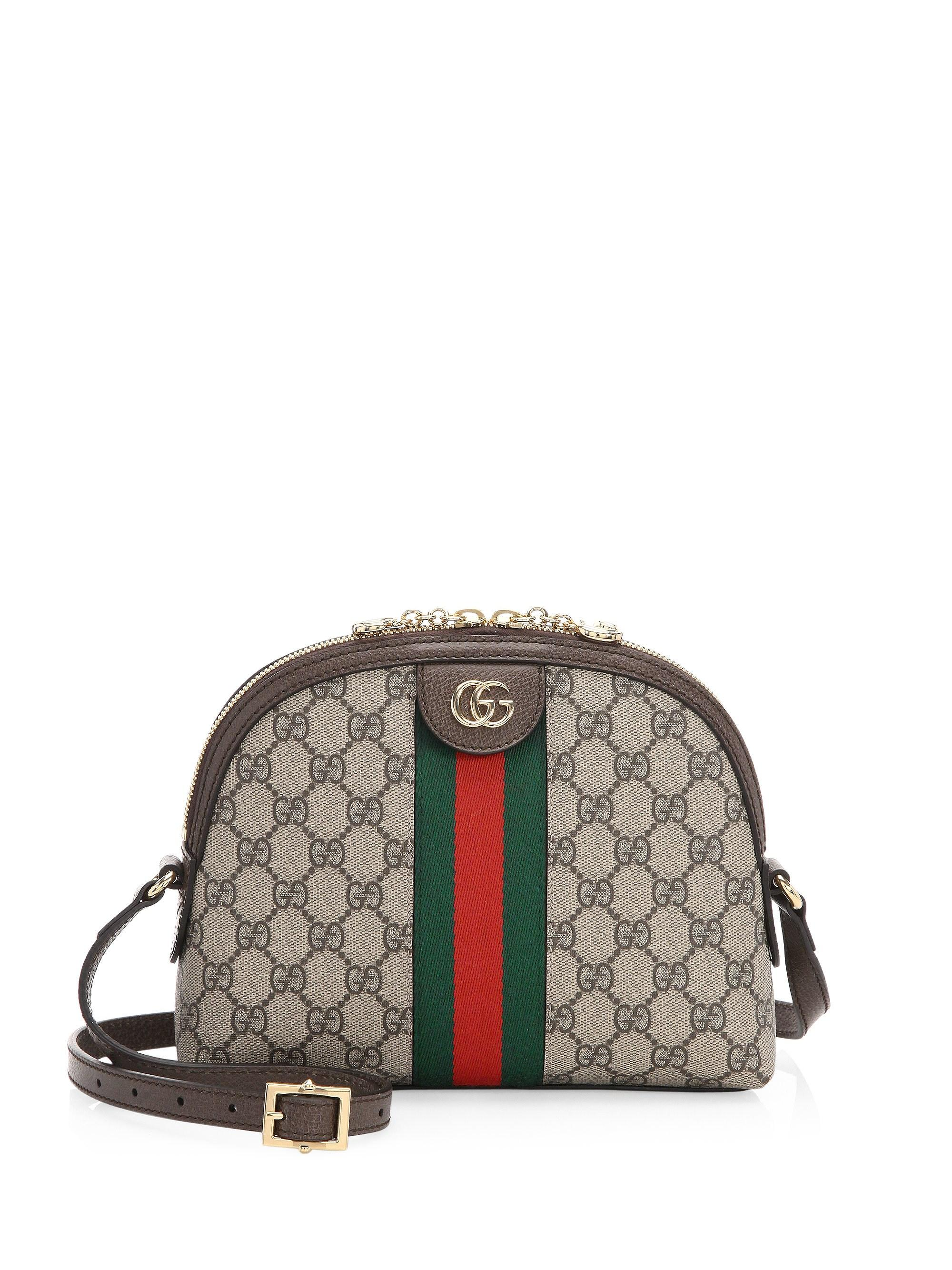 03f957e8e9de Gucci Linea Dragoni GG Supreme Canvas Small Shoulder Bag in Brown - Lyst