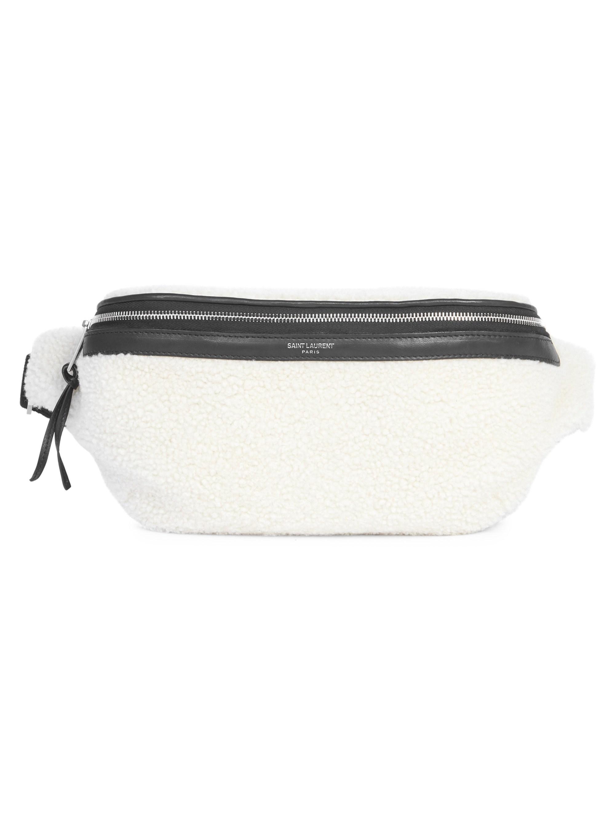 4575b034 Saint Laurent Men's Marsupio Plush Belt Bag - Natural Black for men