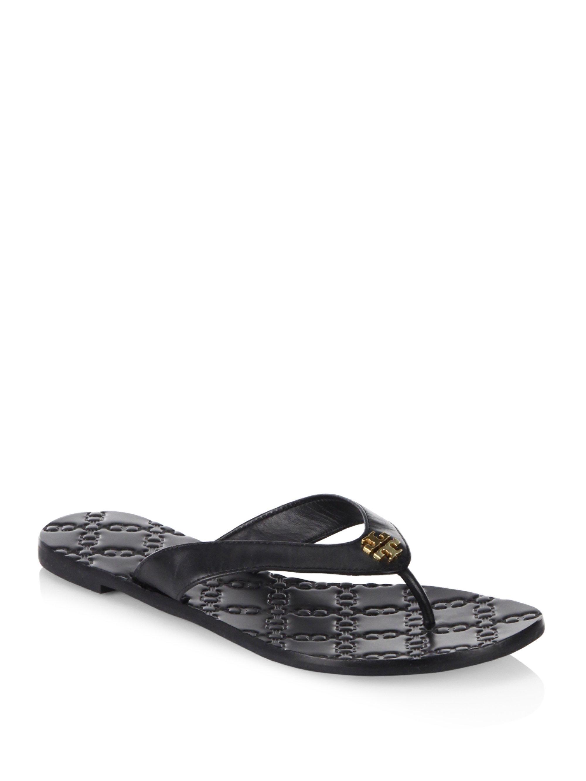 3f310825bdb Lyst - Tory Burch Monroe Leather Thong Sandals in Black