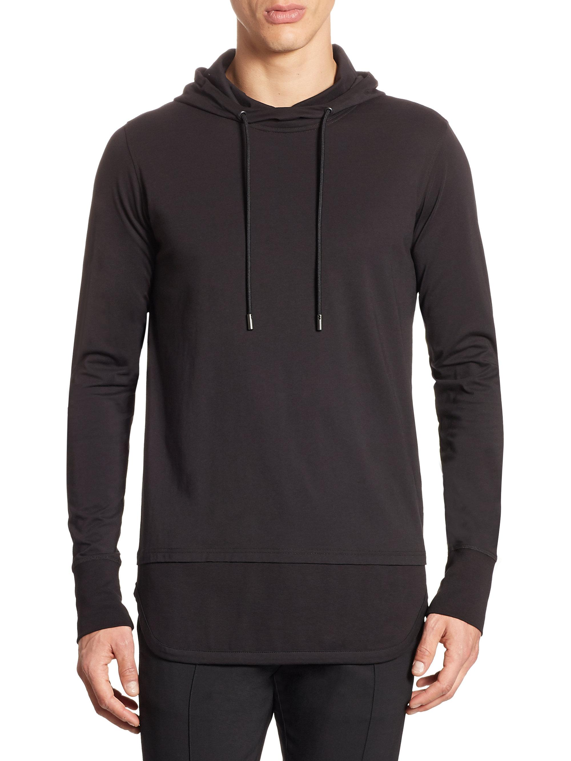 Jersey fabric Slim fit Ribbed sleeve and panel detail Cuffed trims Long sleeve Kangaroo pocket Hood Our model wears a UK M and is cm/6'1'' tall.
