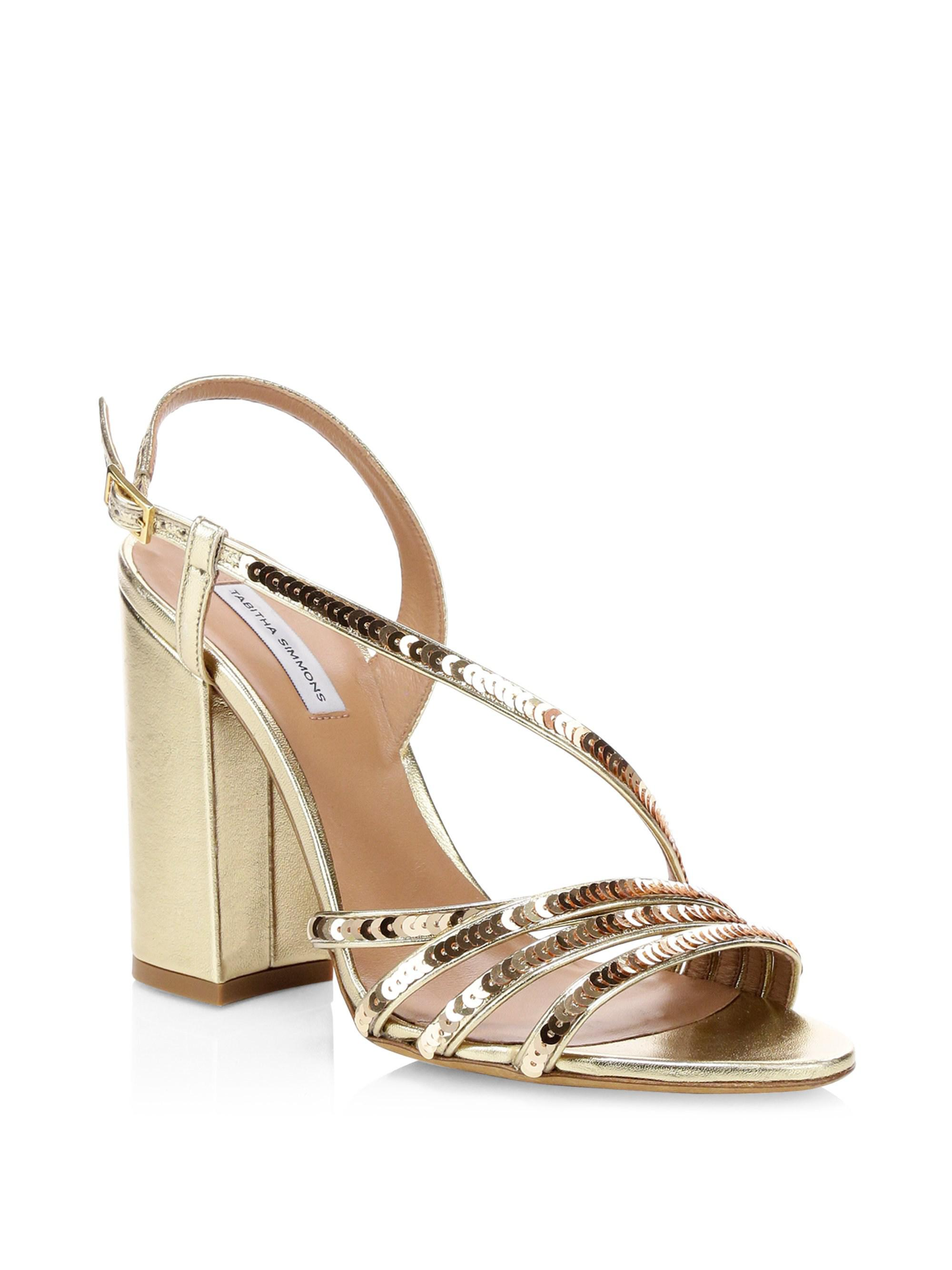 2a977a11d924 Tabitha Simmons. Metallic Women s Viola Sequin Strappy High Block-heel  Sandals