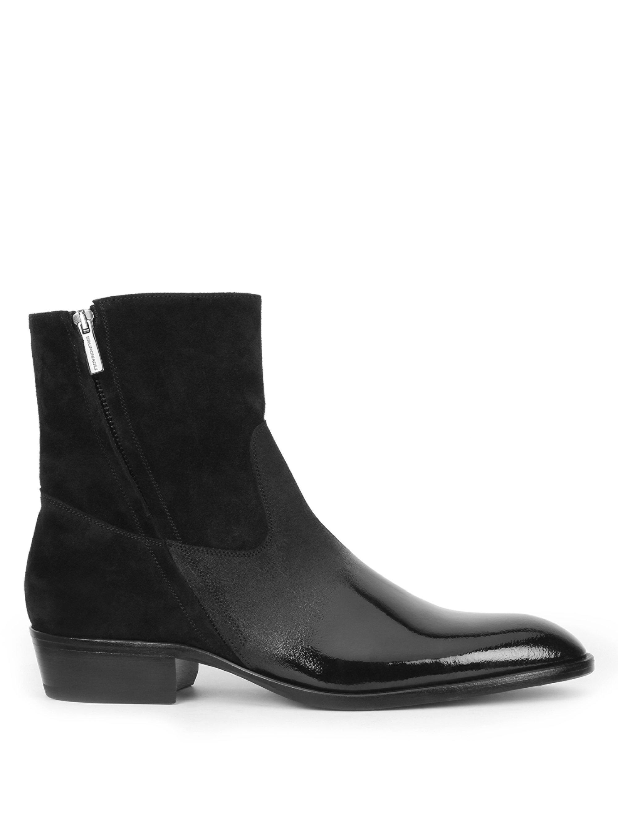 Bruno MagliRisoli Suede and Patent Leather Boots slPgN2