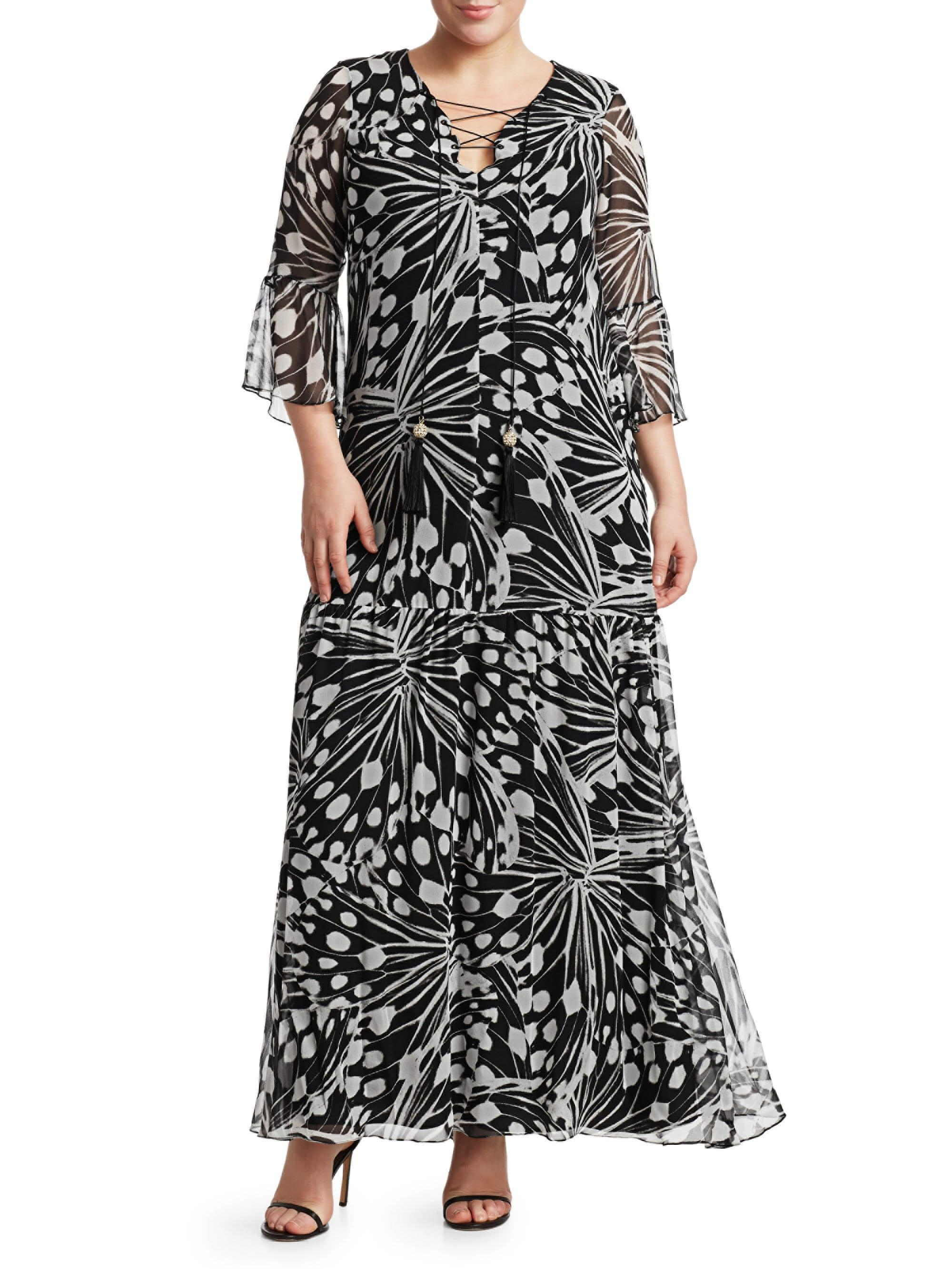 73850cf7445 Marina Rinaldi , Plus Size Women's Elegante Dinamico Lace-up Printed ...
