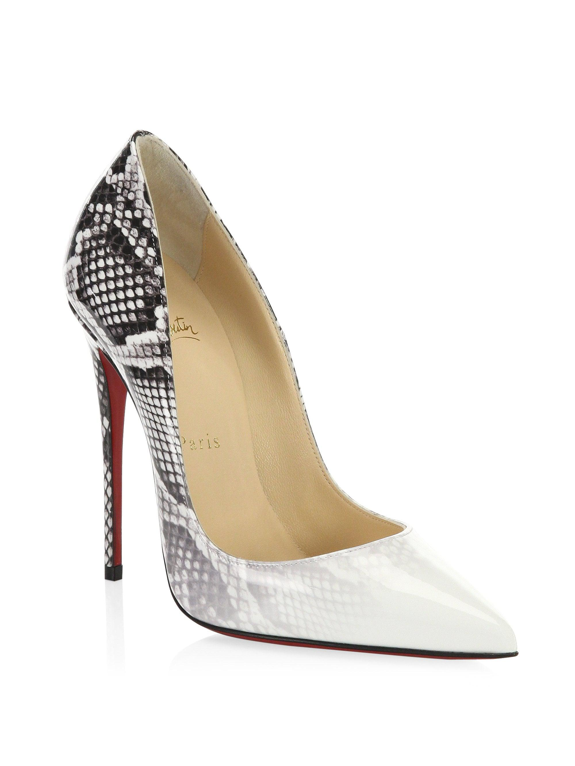 buy popular eaf07 85352 Christian Louboutin White So Kate Patent Leather Heels
