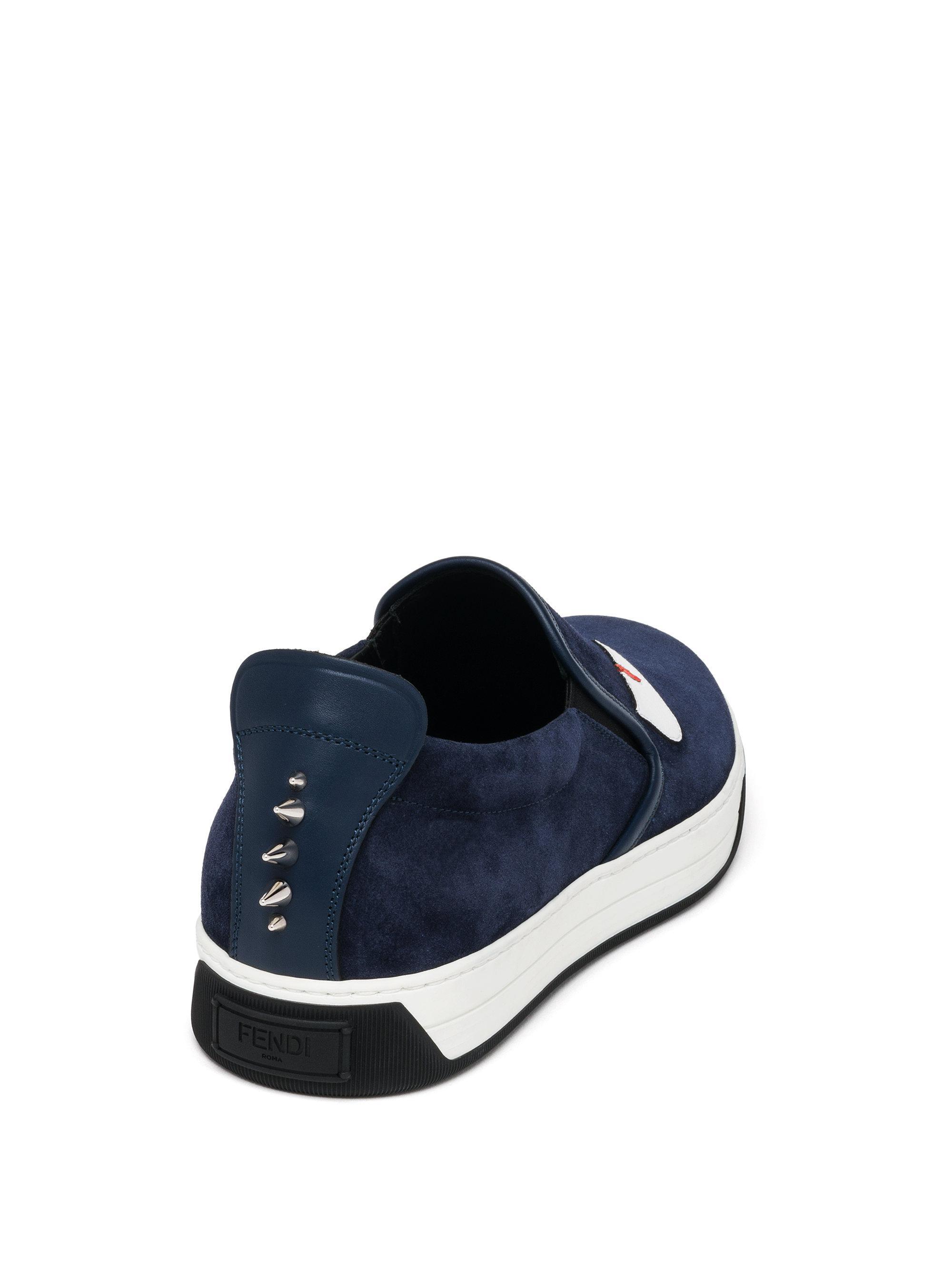 4785b3f6 Fendi Blue Monster Suede Slip-on Sneakers for men