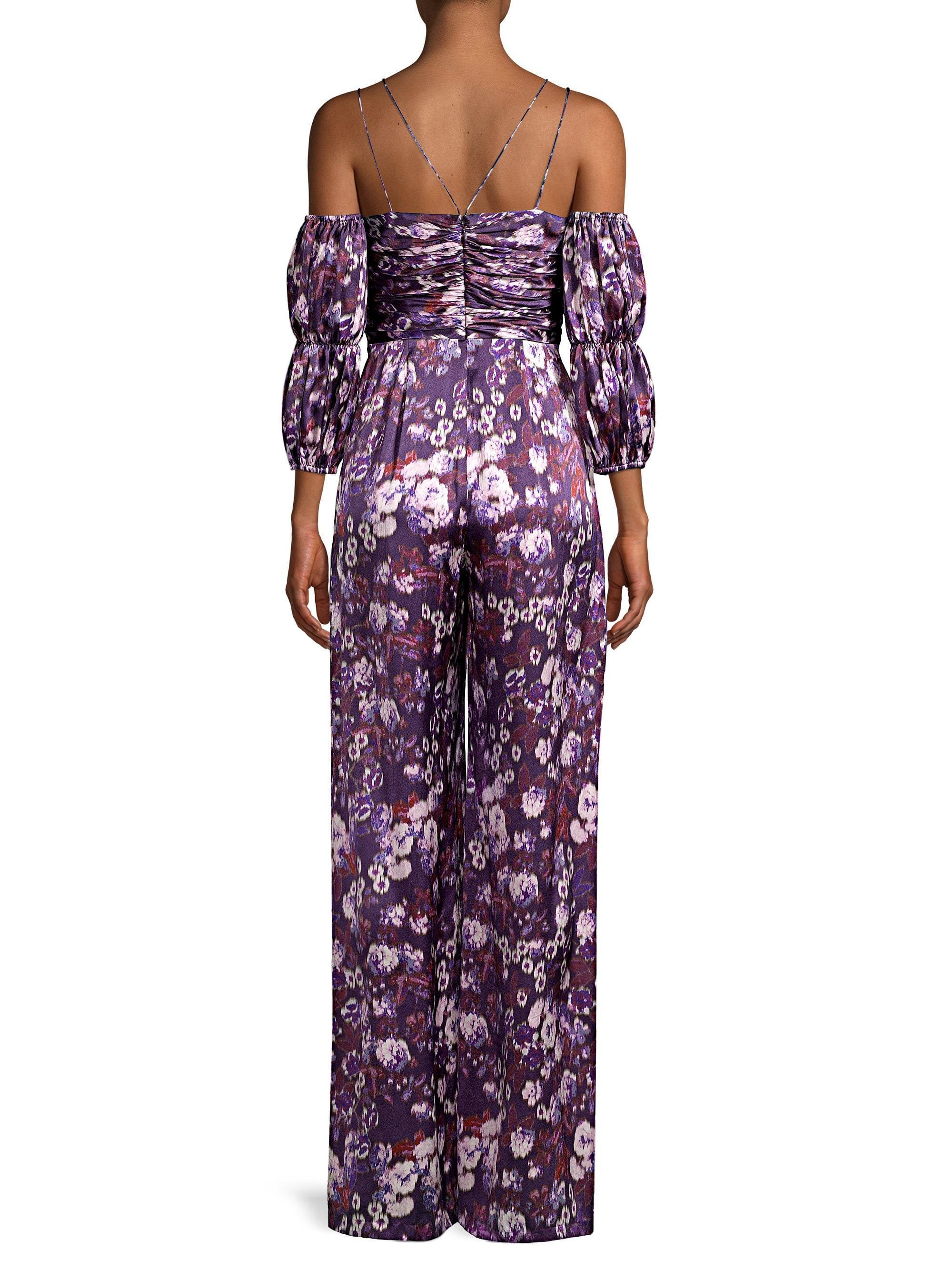 cea83d71e70 AMUR Women s Autumn Silk Puff Sleeve Jumpsuit - Purple - Size 10 in ...
