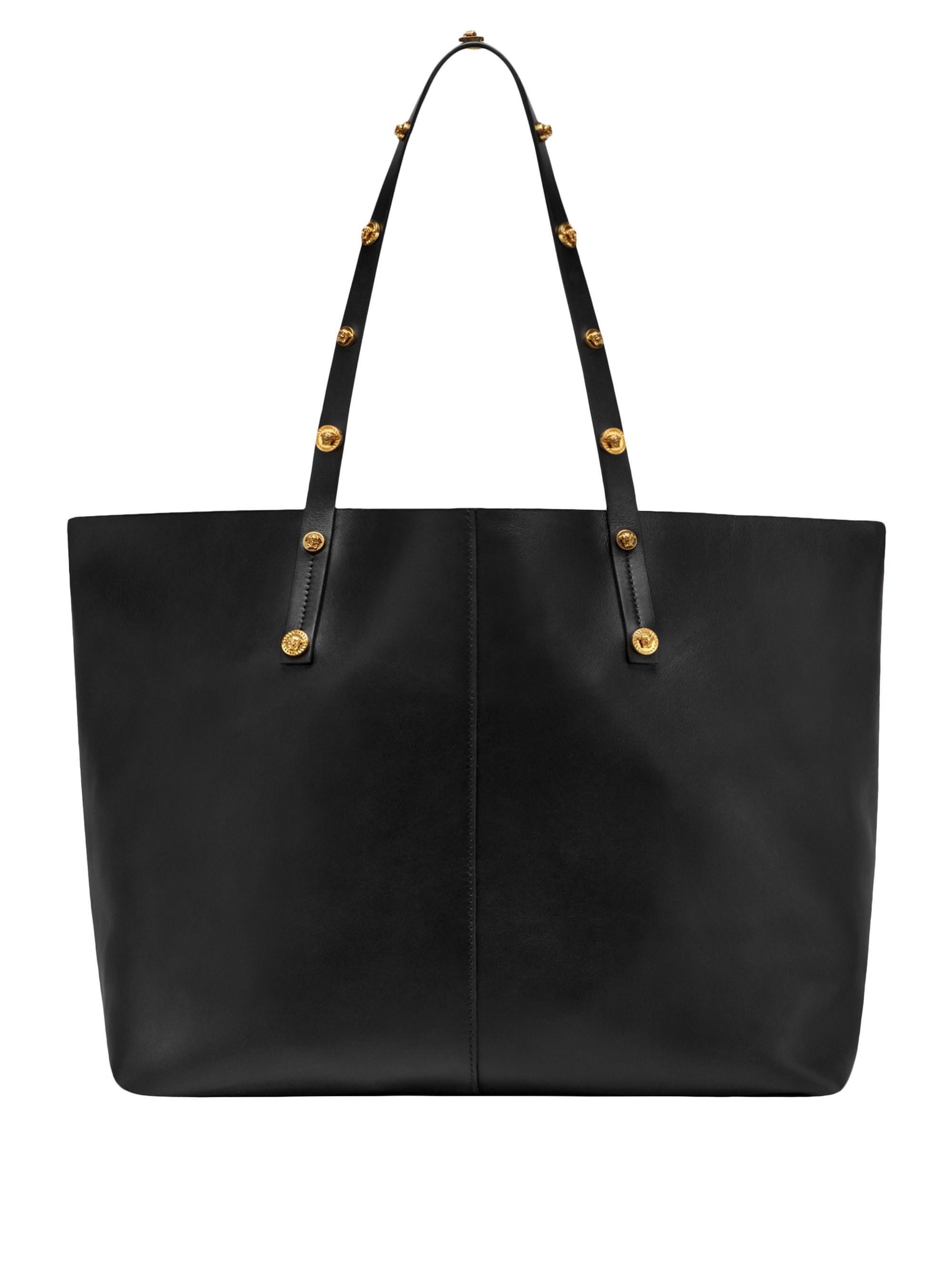 Versace - Black Medusa Studded Leather Tote - Lyst. View fullscreen 6477755b37d0c