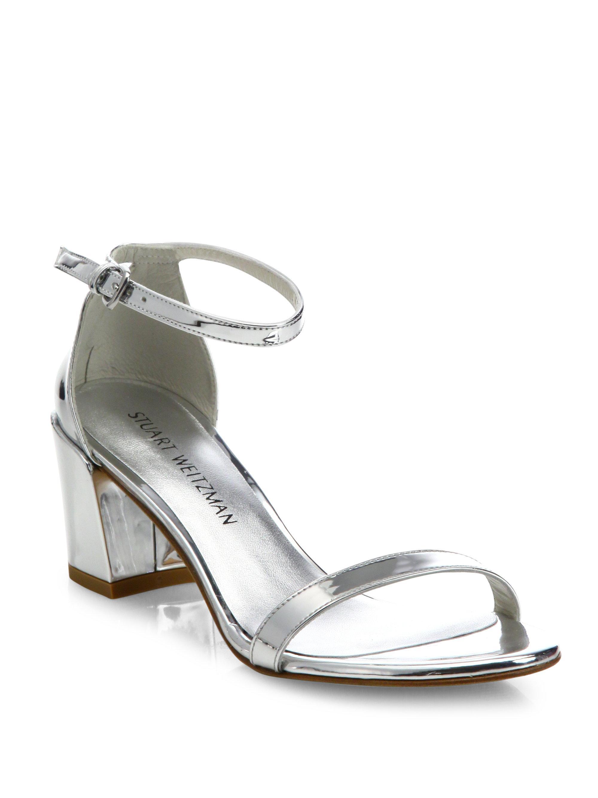 Stuart Weitzman Simple Metallic Block Heel Sandals C1ues6omc