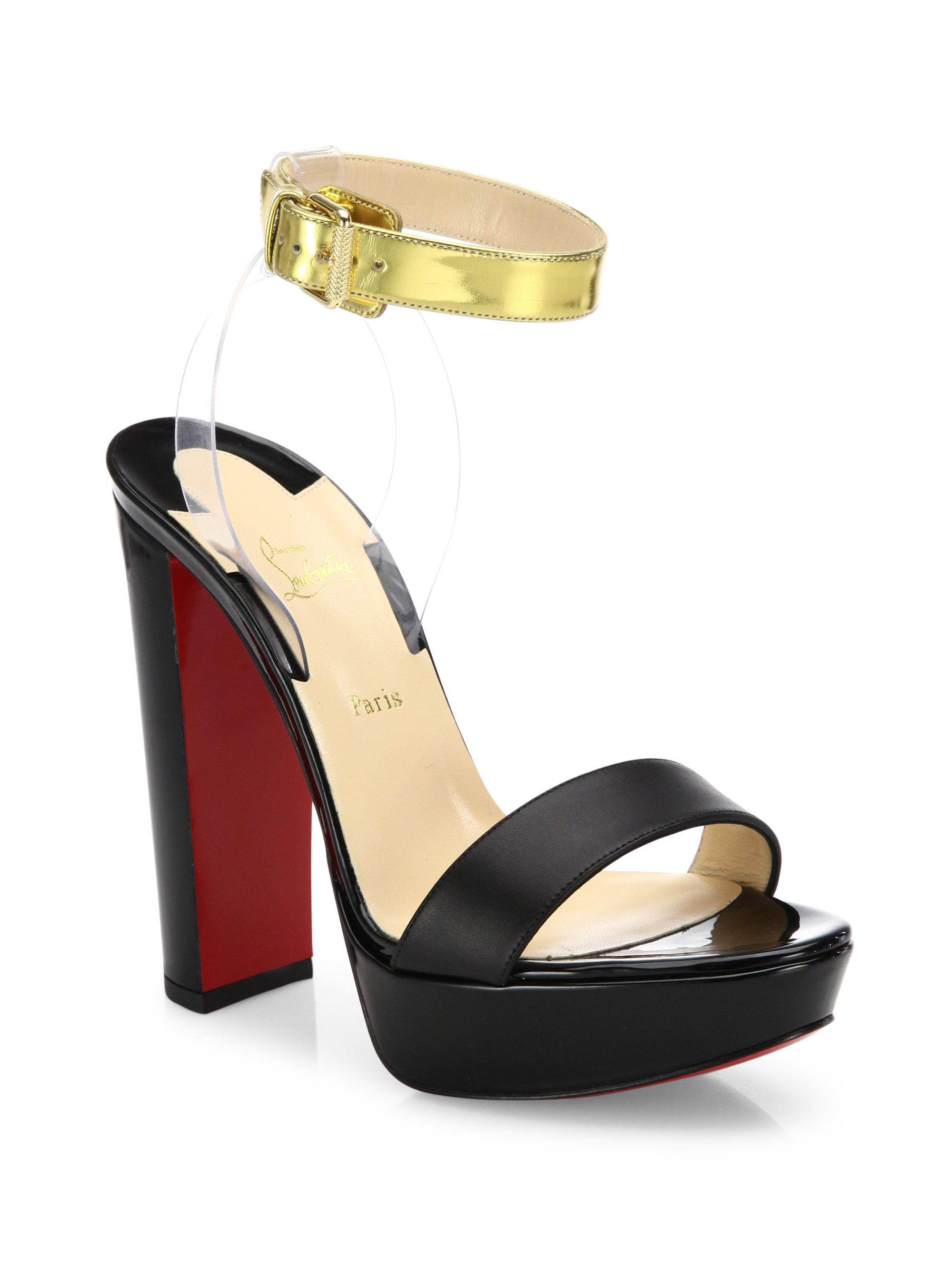 brand new b94ae d38d9 Christian Louboutin Black Cherry Patent Leather & Pvc Ankle-strap Sandals