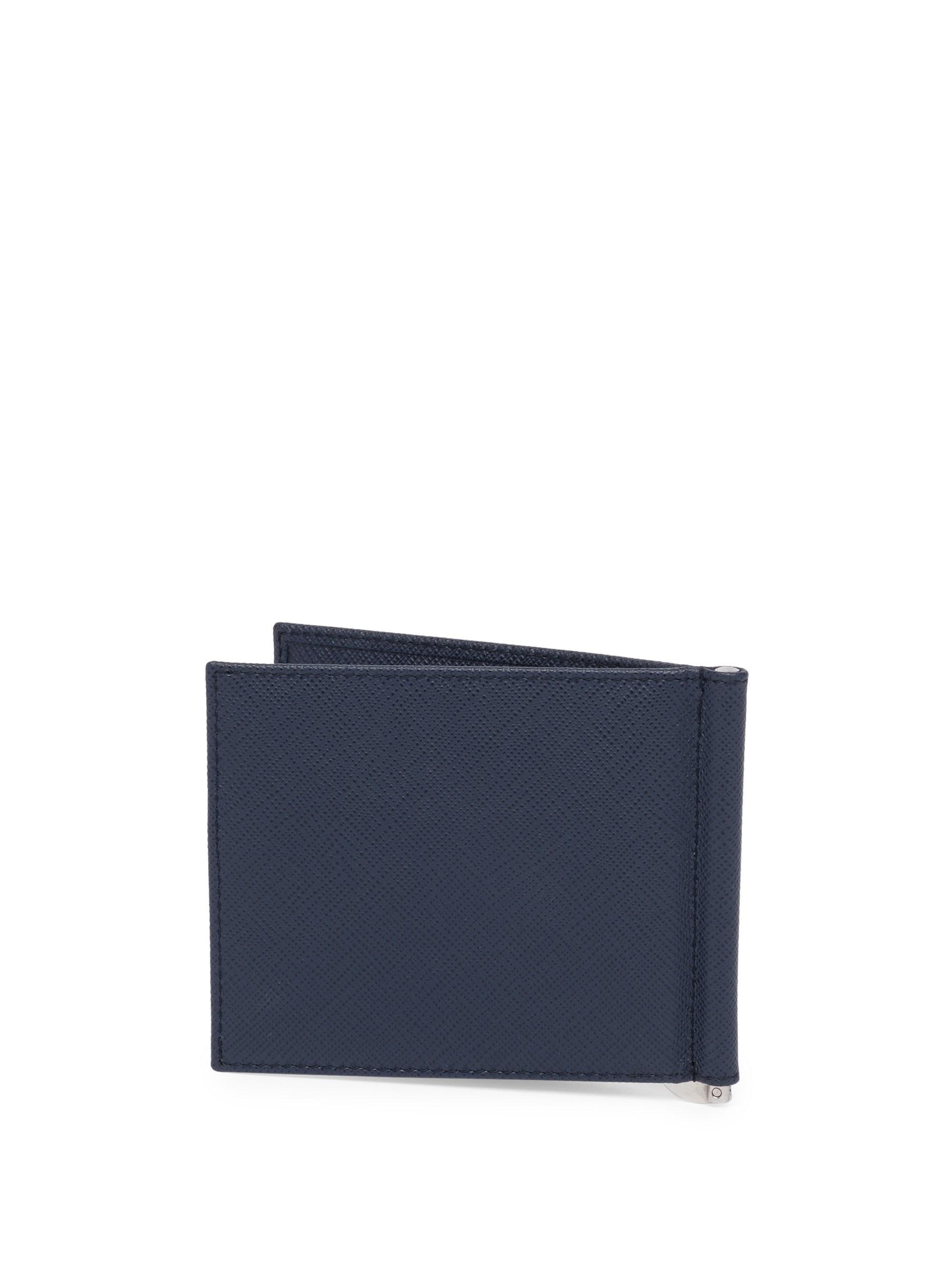 3c011e13a25f75 Prada Men's Saffiano Leather Triangolo Billfold Wallet - Baltico in Blue  for Men - Lyst