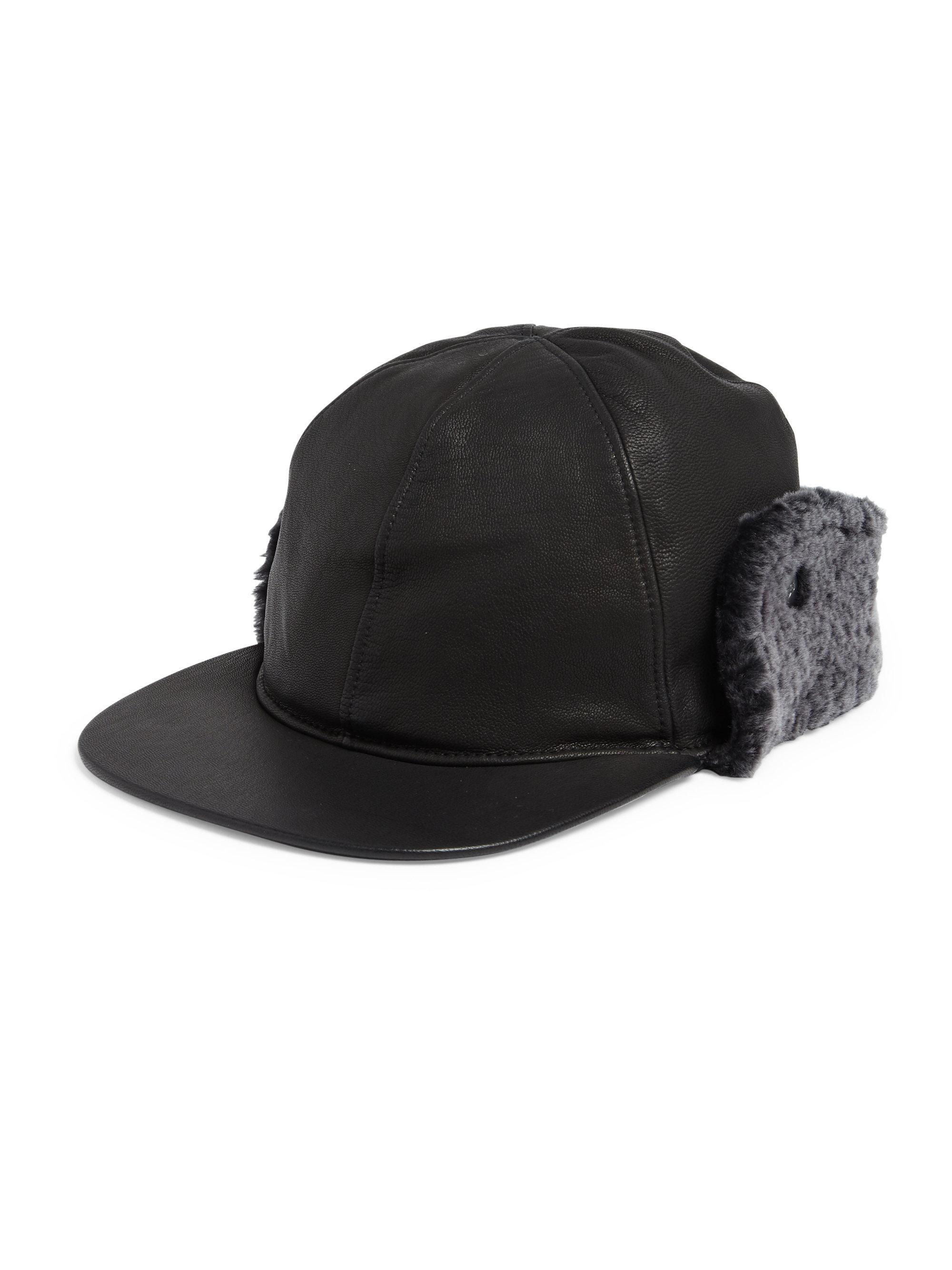 Ugg Sheepskin Shearling Fur Trimmed Leather Baseball Hat
