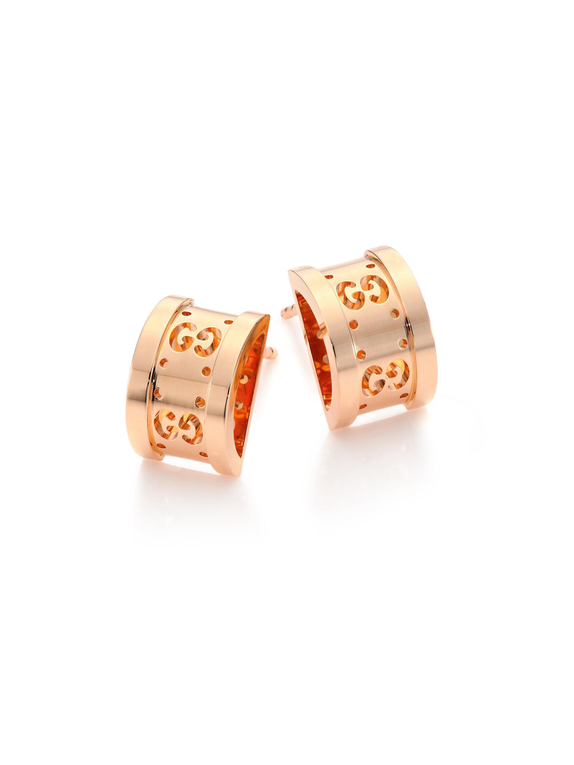 Lyst Gucci Icon Twirl 18k Rose Gold Stud Earrings In Pink