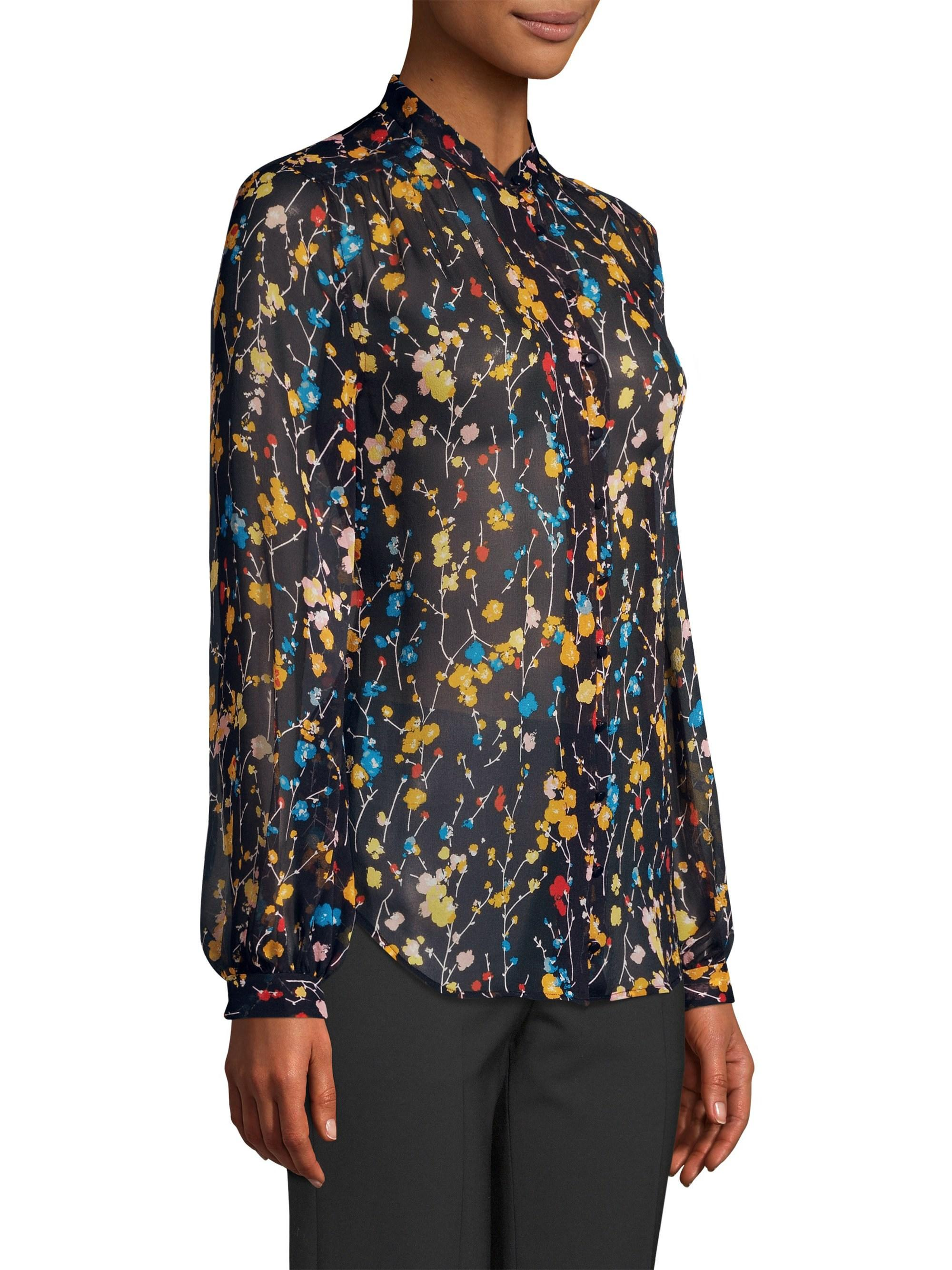 d0502131e4b84 Lyst - Equipment Women s Cornelia Floral Silk Blouse - Eclipse Multi