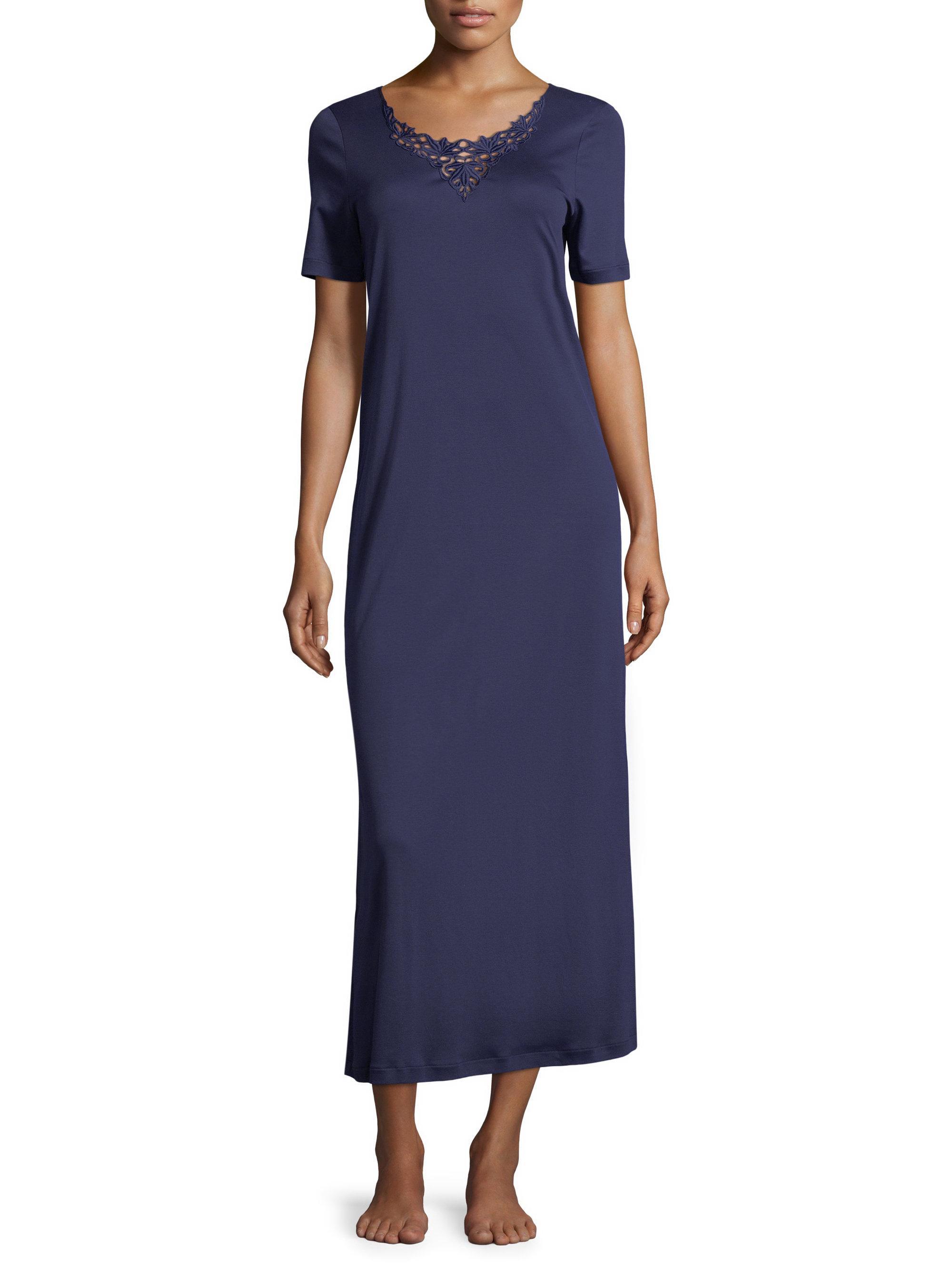 c4aa374afc Hanro Jasmin Short Sleeve Cotton Nightgown in Blue - Lyst