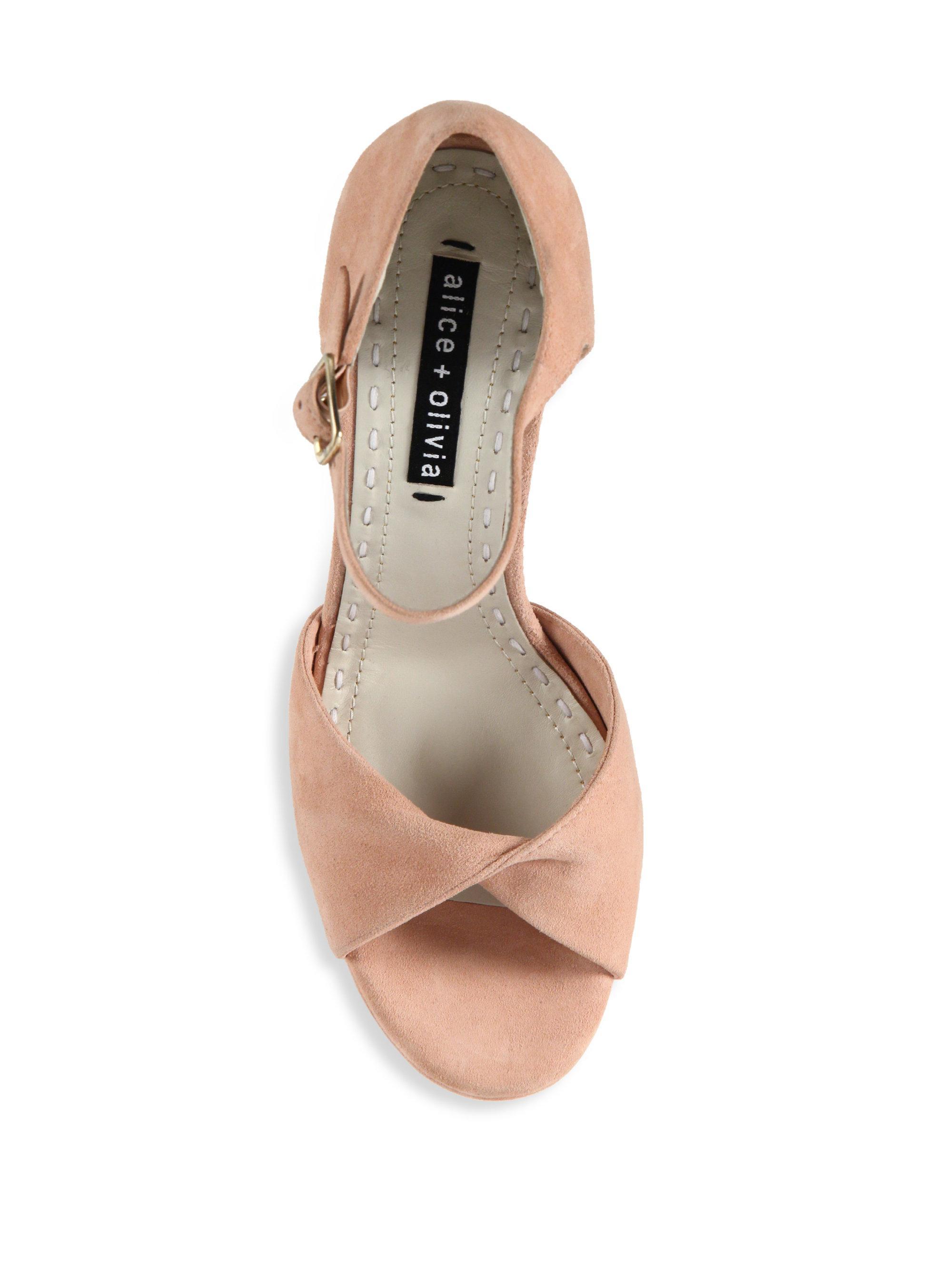 e3f3f318ca78 Lyst - Alice + Olivia Layla Suede Platform Sandals