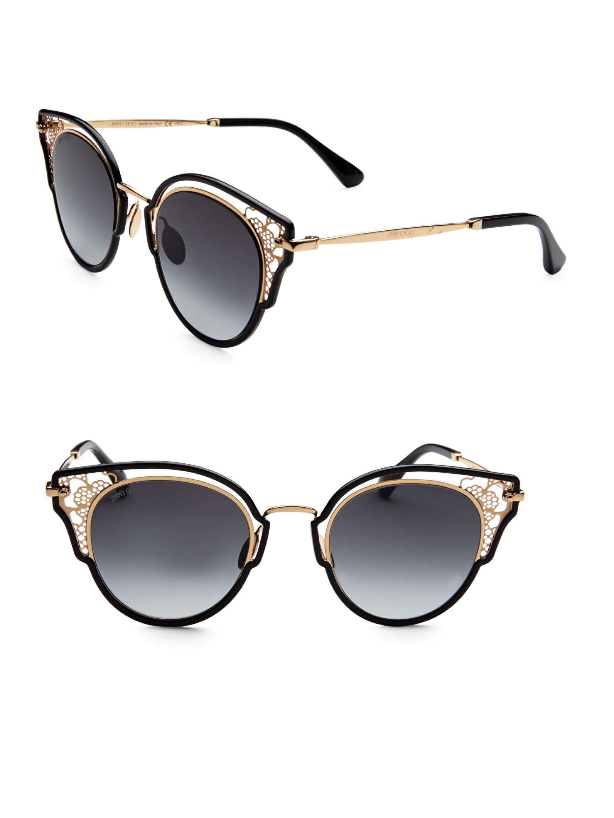 3143955fca Jimmy Choo Dhelia 48mm Panthos Sunglasses in Black - Lyst