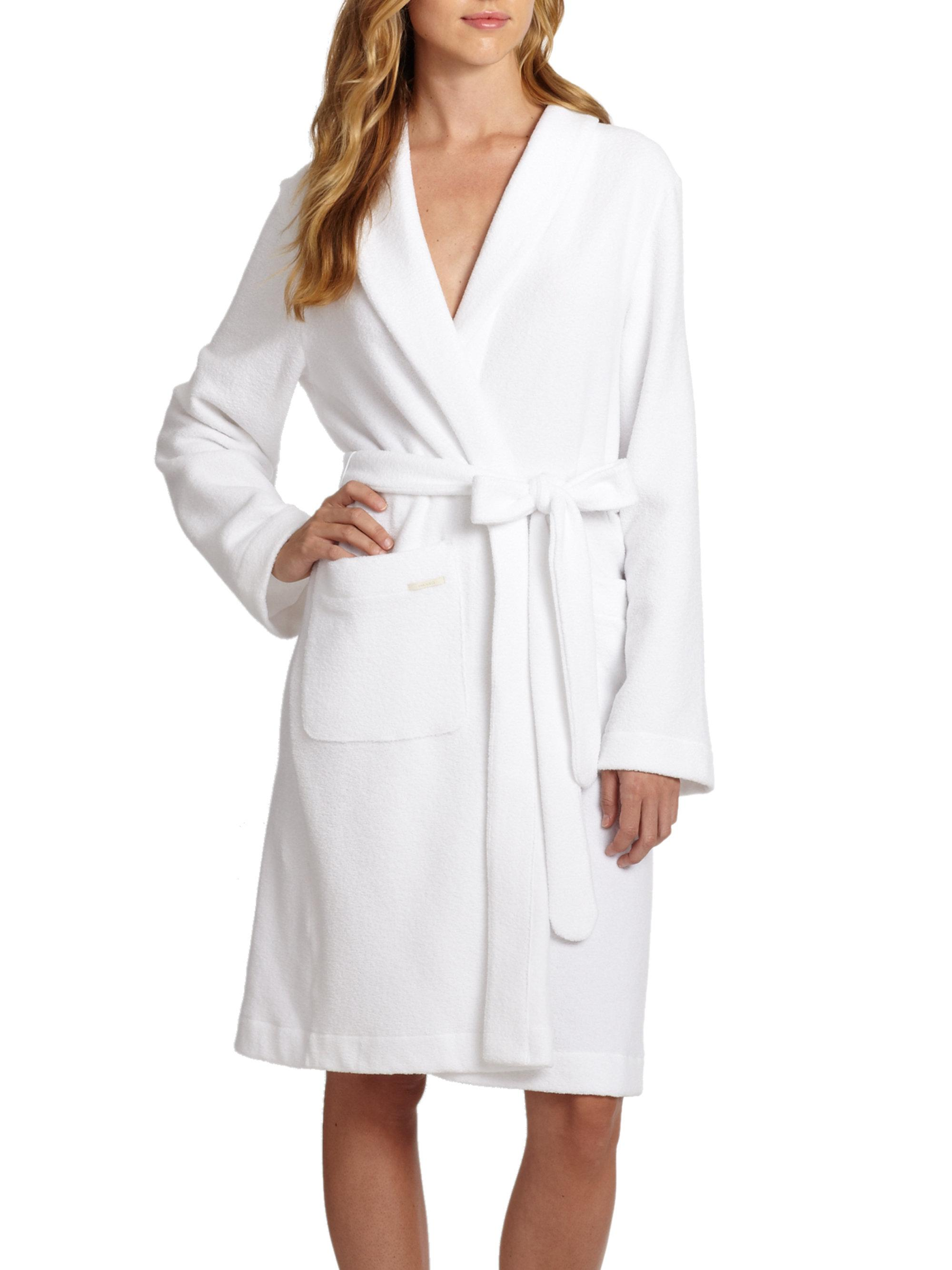 Lyst hanro terry robe in white for Saks 5th avenue robes de mariage
