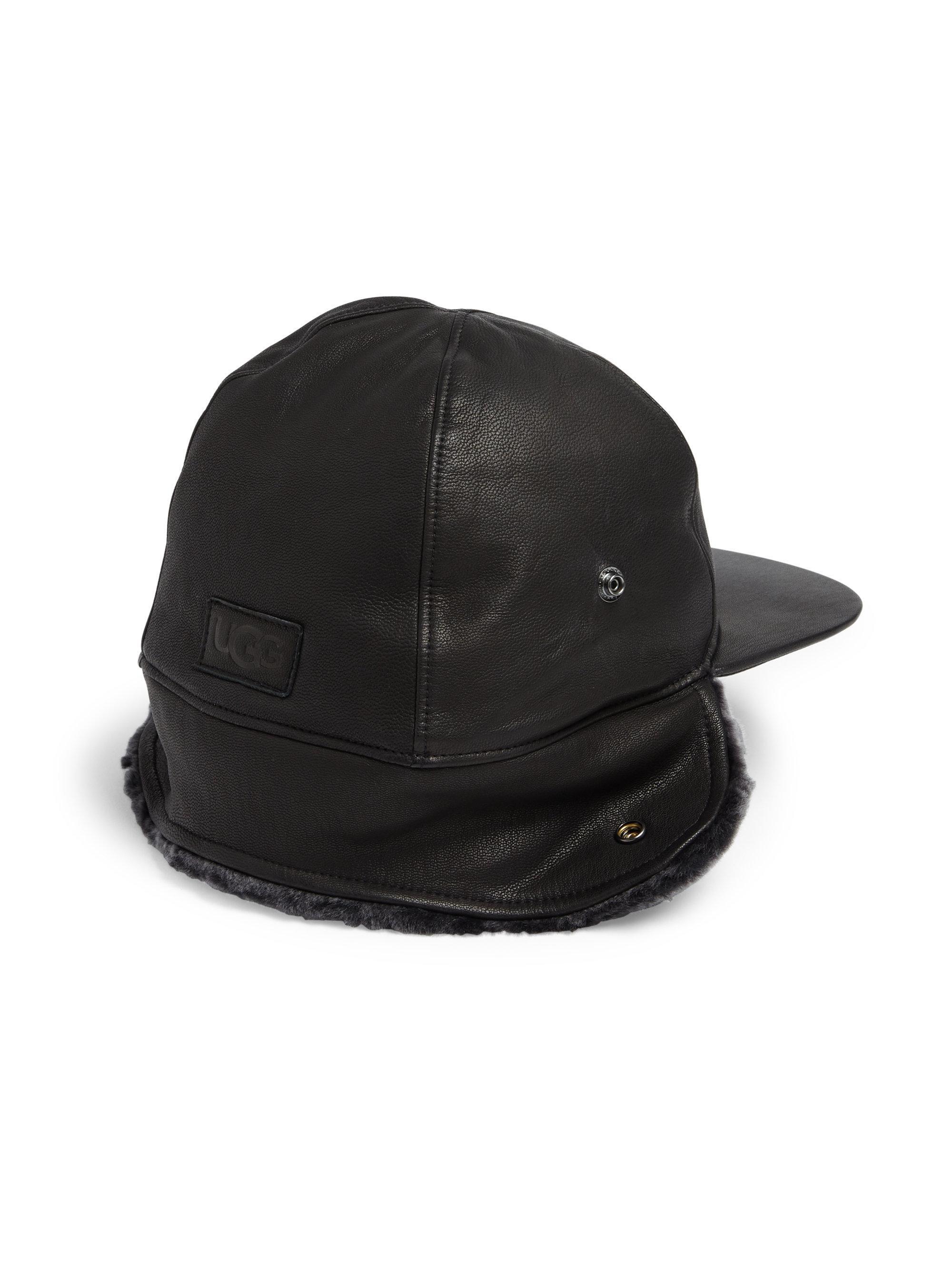 Ugg - Black Sheepskin Shearling Fur Trimmed Leather Baseball Hat for Men -  Lyst. View fullscreen c05690323b20