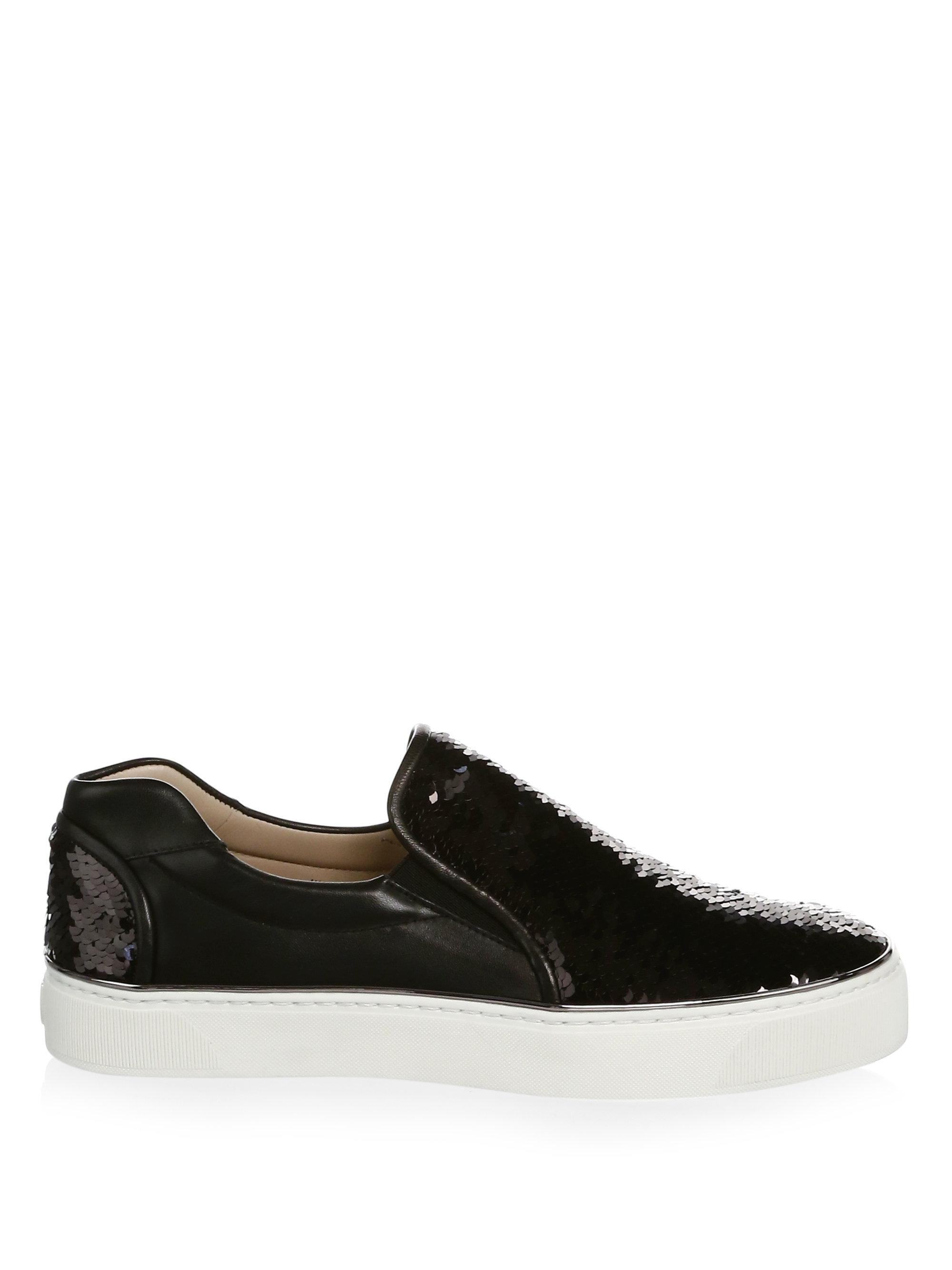 Stuart Weitzman Sequined Leather Sneakers yMzFzZA