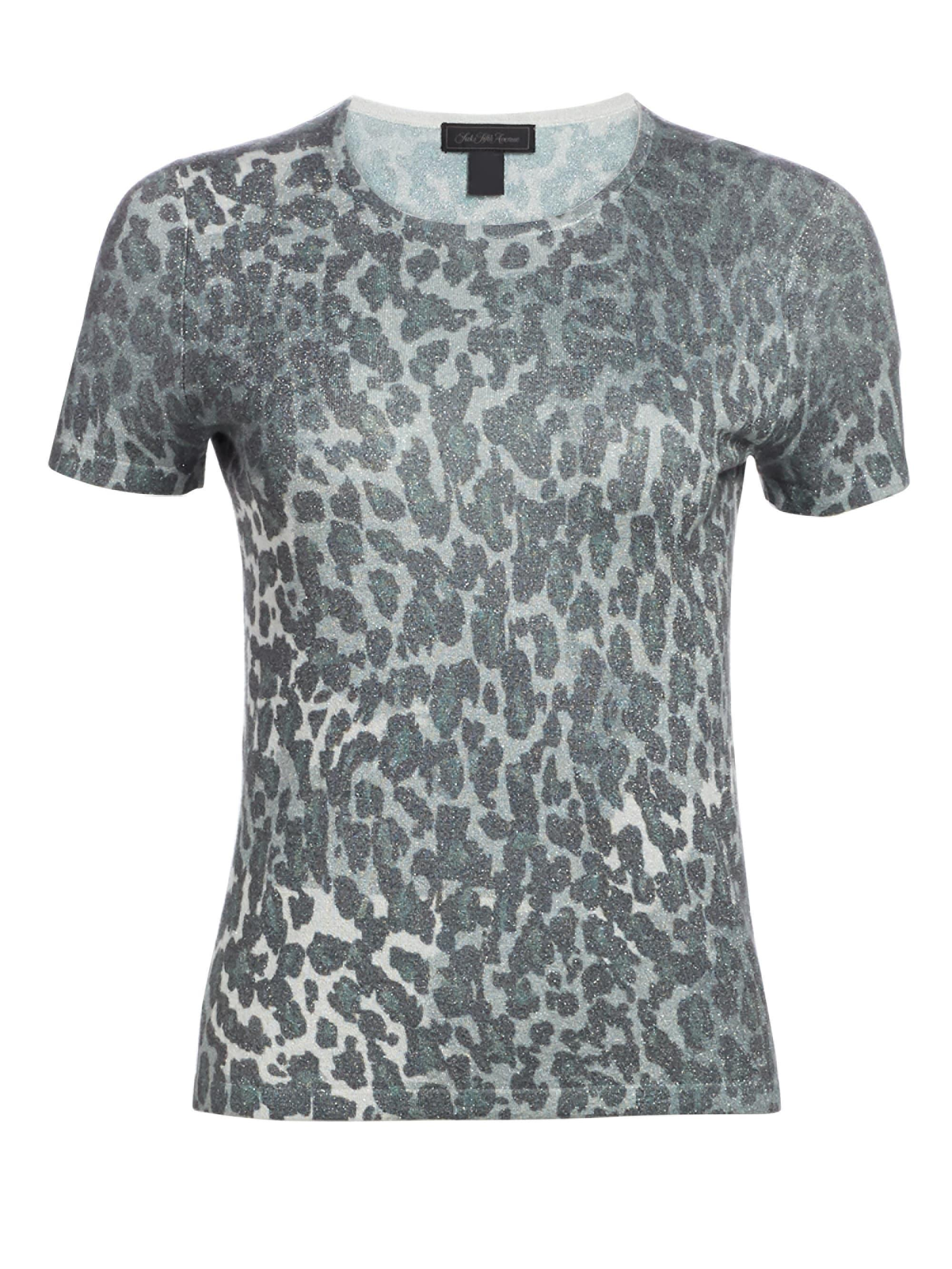 efe018c02238 Saks Fifth Avenue. Gray Women's Lurex Animal Print Tee - Fog Green Combo - Size  Xs