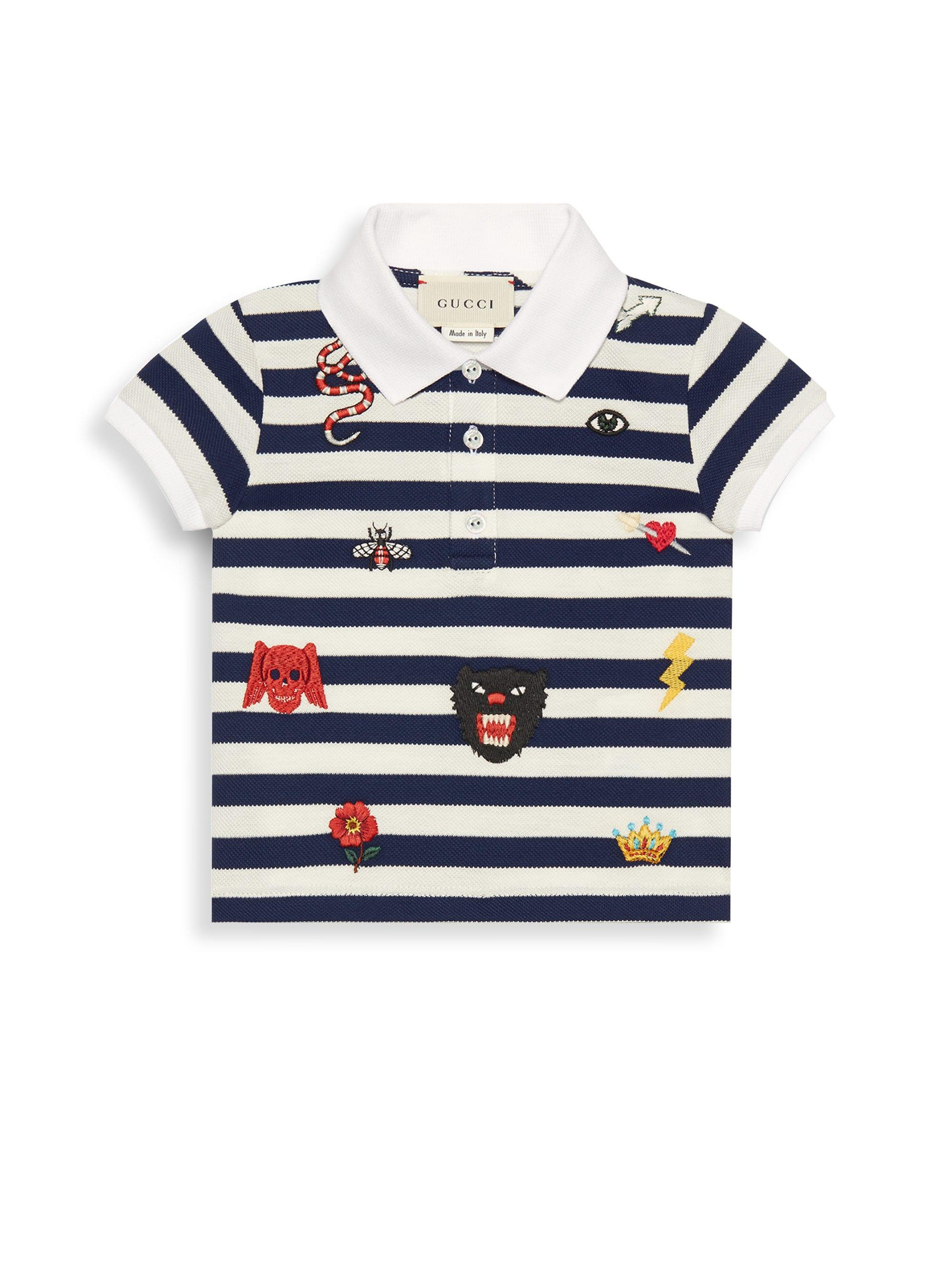 5f184f04 Lyst - Gucci Baby Boy's Short-sleeve Stripe Embroidered Polo in Blue ...