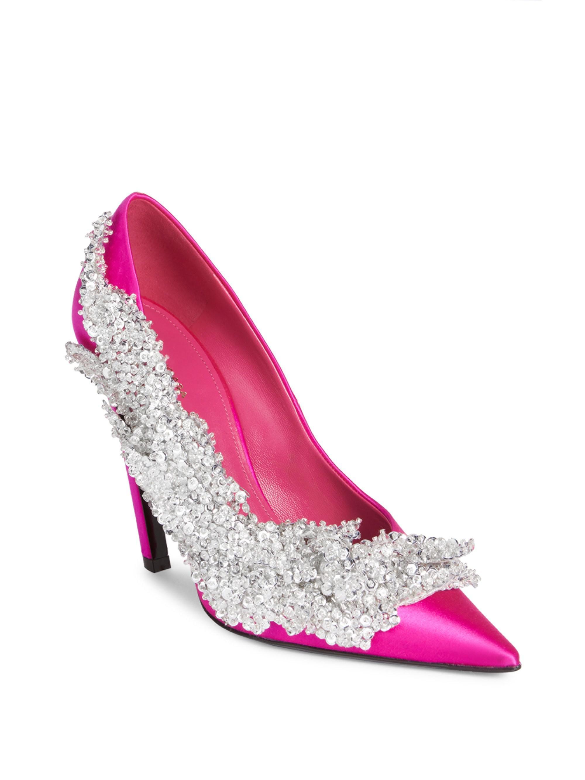 Balenciaga Crystal Satin Pumps in Rose