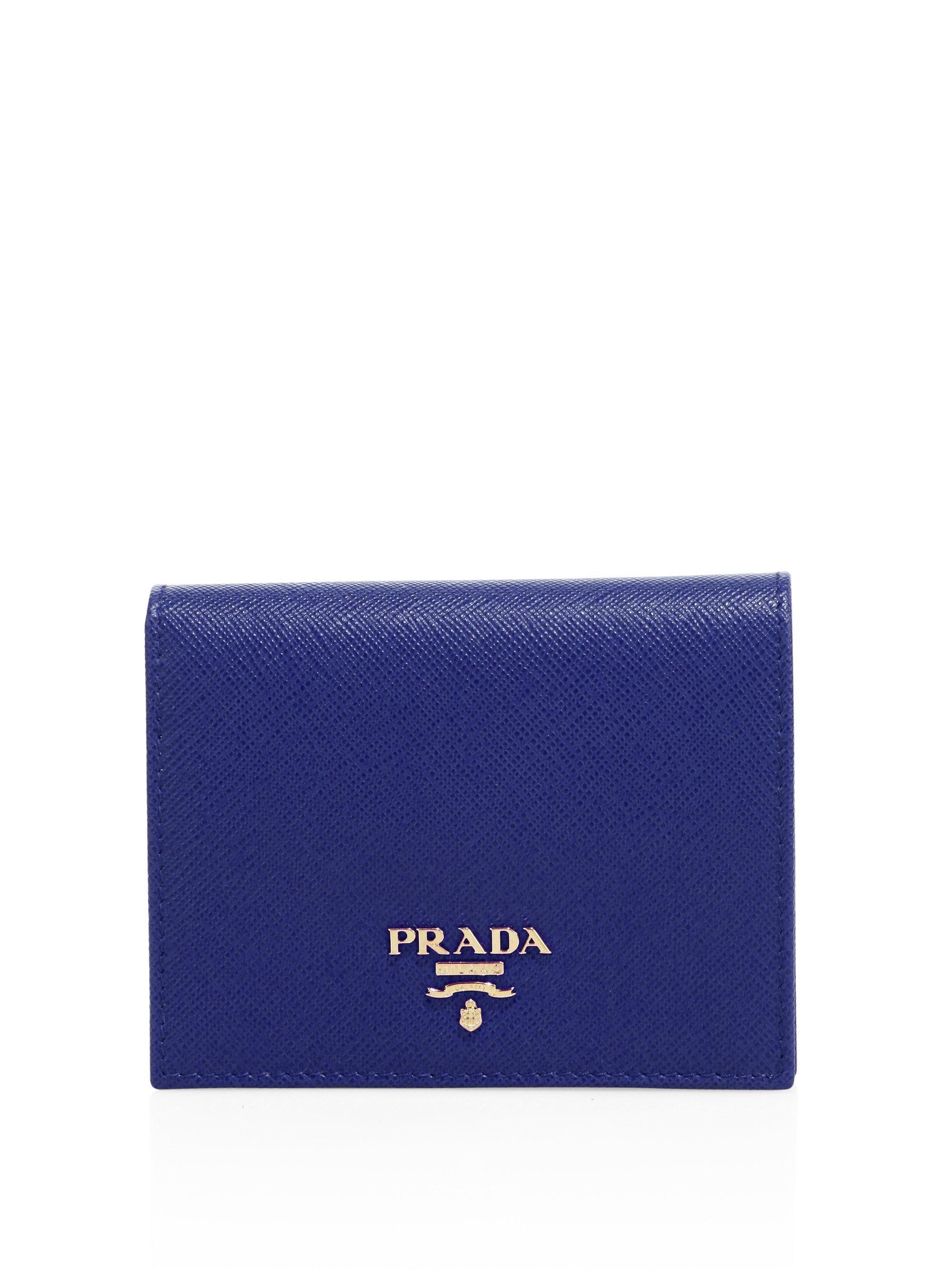 9212cb68d105 ... free shipping lyst prada mini saffiano leather bifold wallet in blue  433ee 4364b