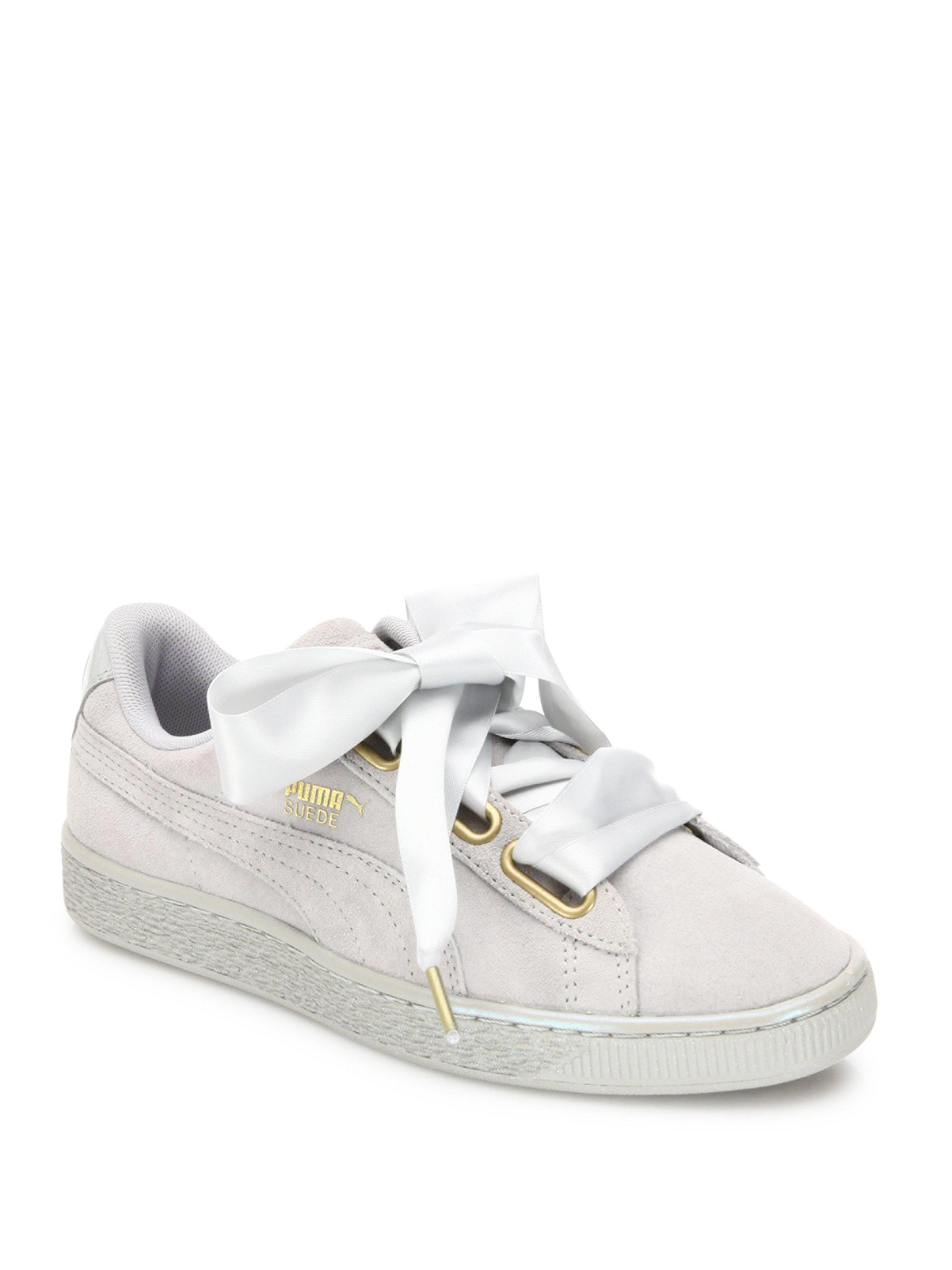 848791457f4 Lyst - PUMA Basket Heart Suede   Satin Low-Top Sneakers in Gray