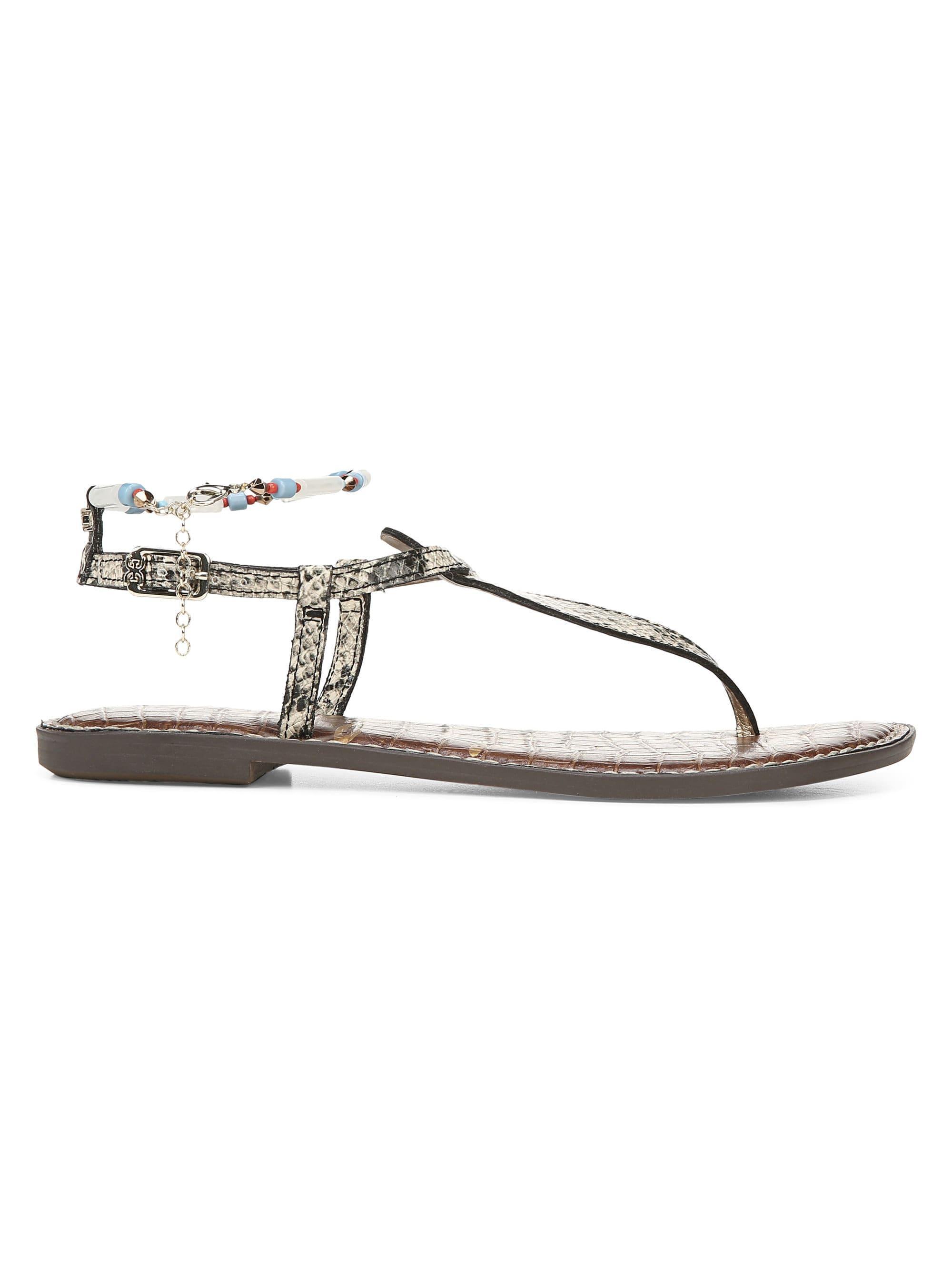 5197f9aad Lyst - Sam Edelman Geena Snake Print Leather Gladiator Sandals in White