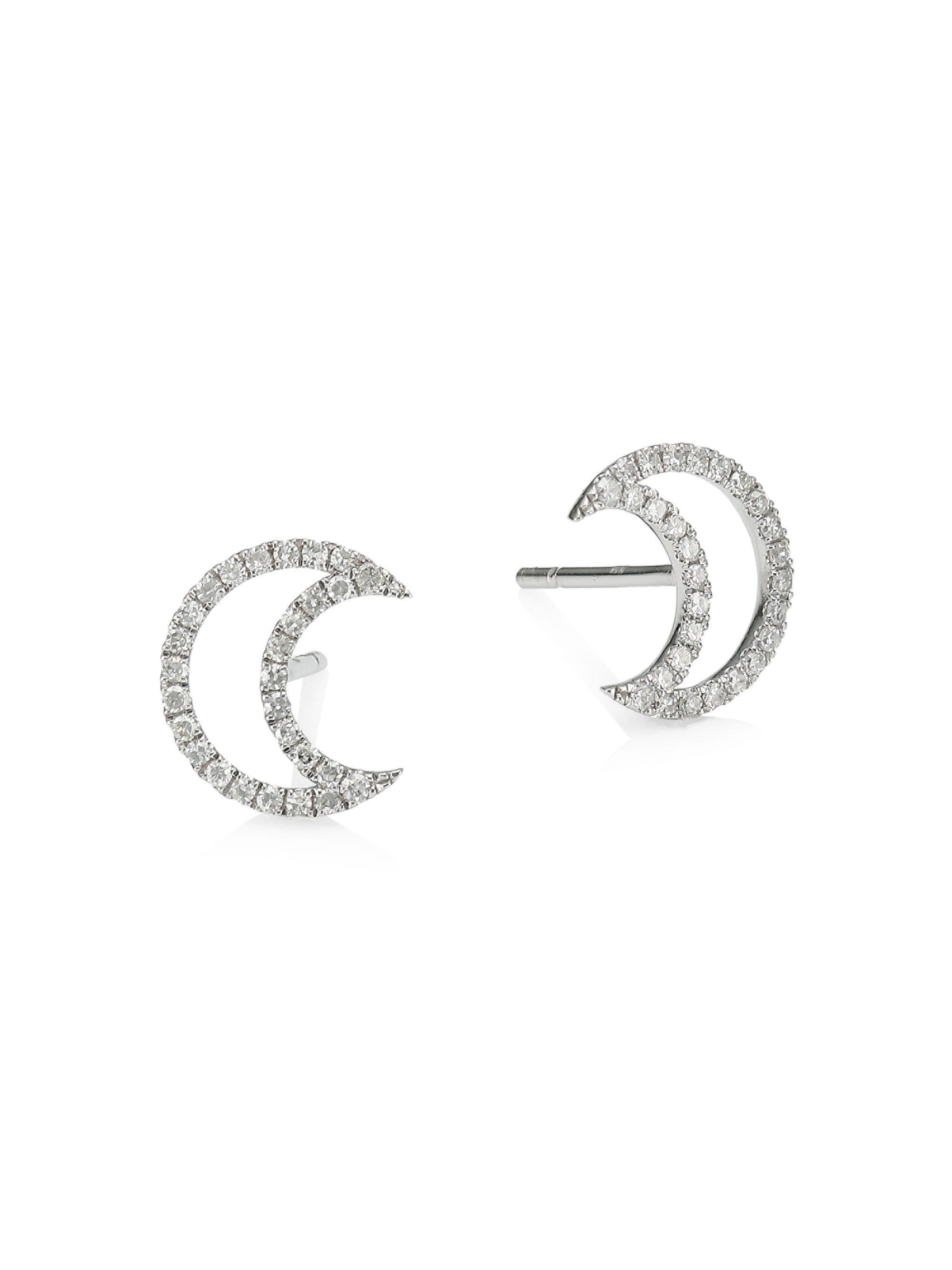 295628741 Meira T. Women's Metallic Diamond & 14k White Gold Moon Stud Earrings ...