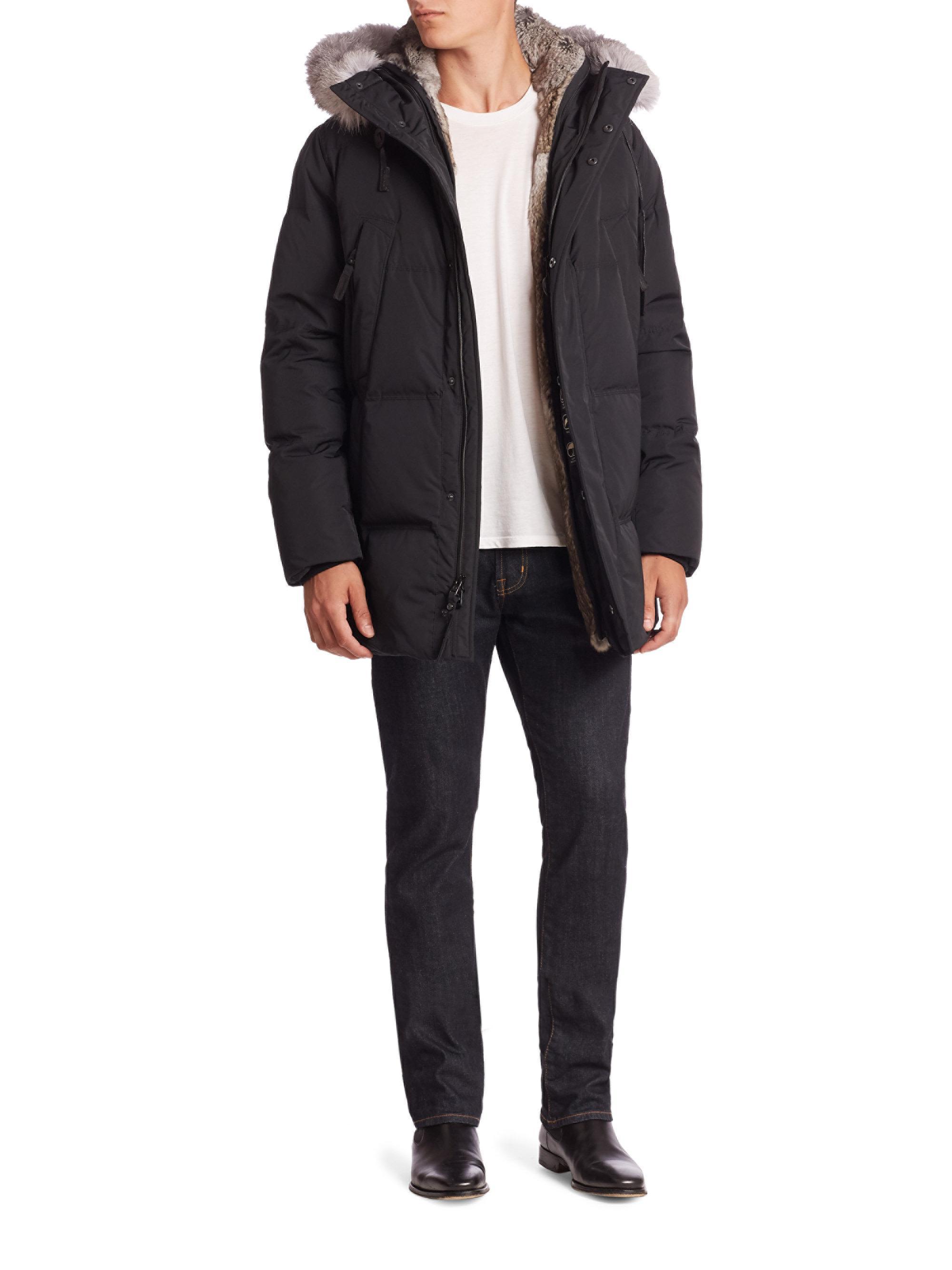 Andrew Marc Freezer Rabbit Fur Jacket in Black for Men - Lyst