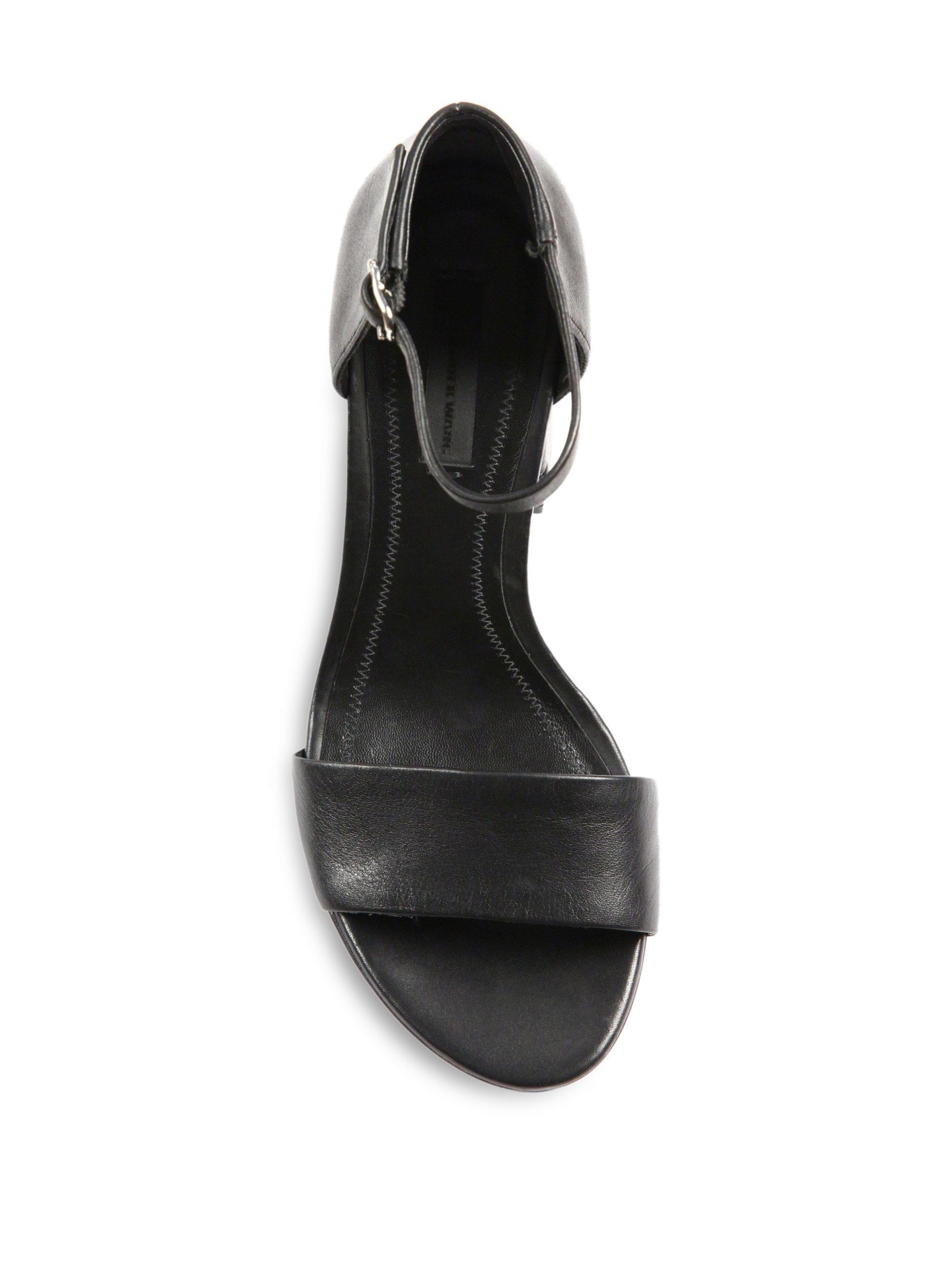 ef756253c0c Alexander Wang Women s Abby Tilt-heel Leather Ankle-strap Sandals - Black -  Size 37 (7) in Black - Save 55.96658711217184% - Lyst