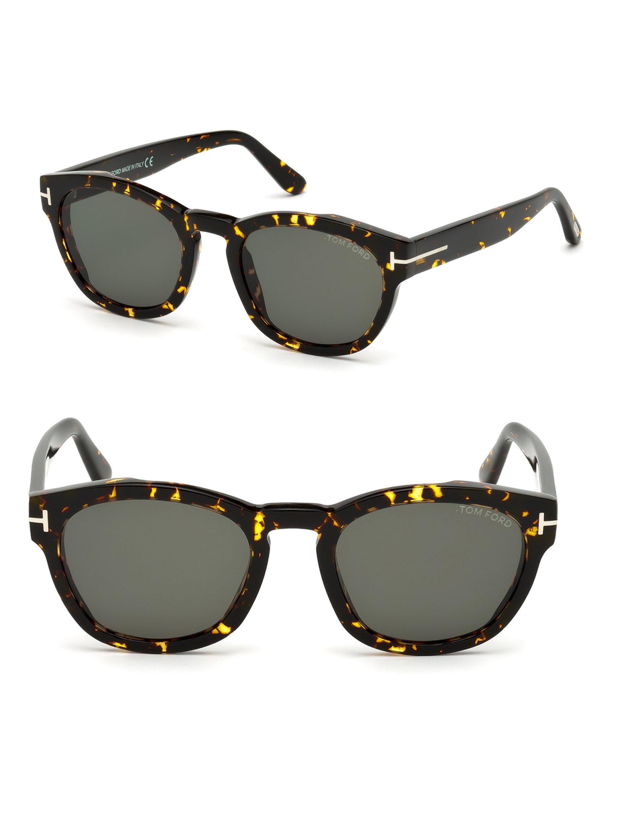 6d0a2f01b3 Tom Ford 51mm Bryan Round Tortoise Shell Sunglasses in Brown for Men ...