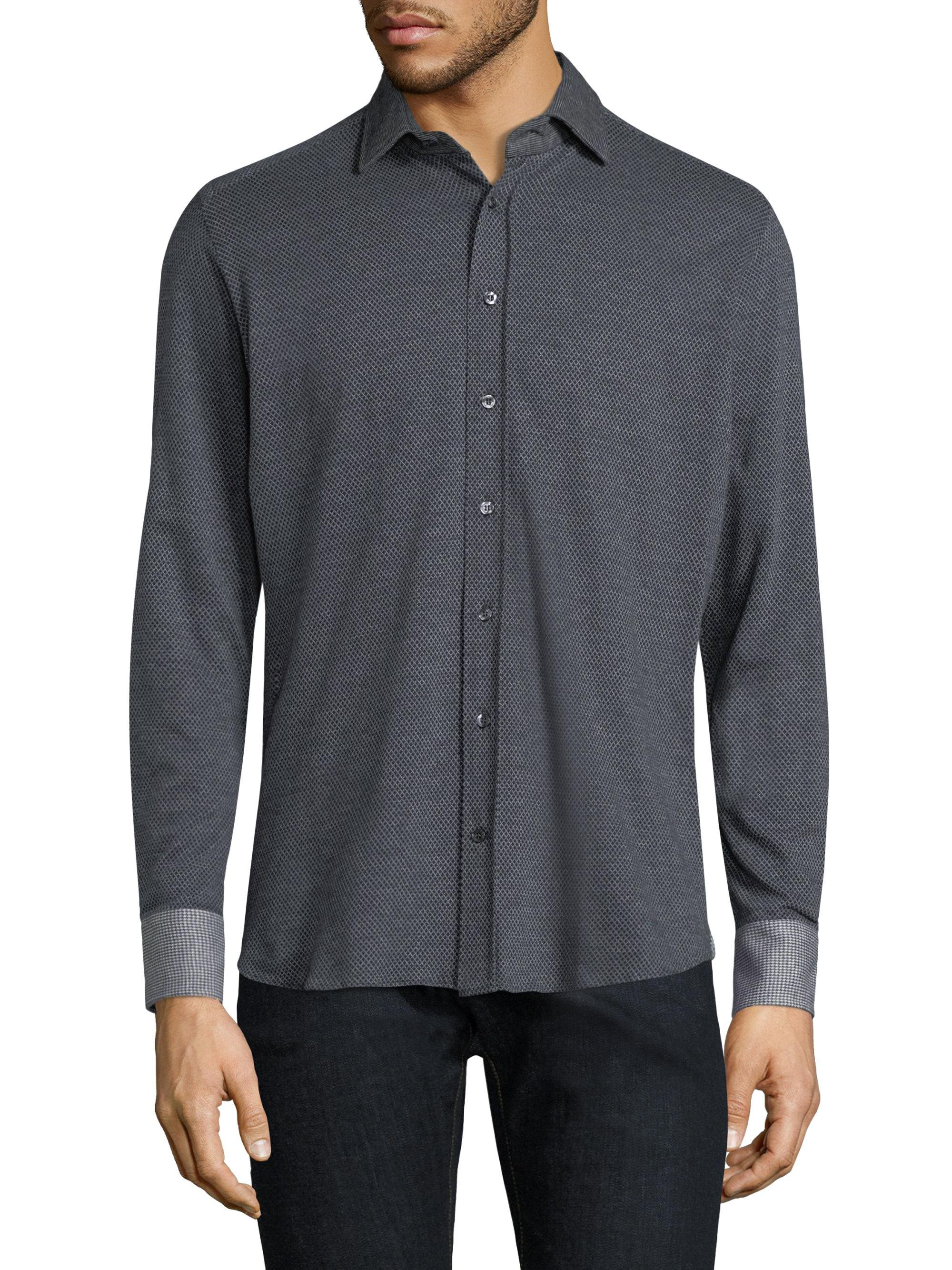 Lyst etro printed cotton button down shirt in blue for men for Cotton button down shirts men