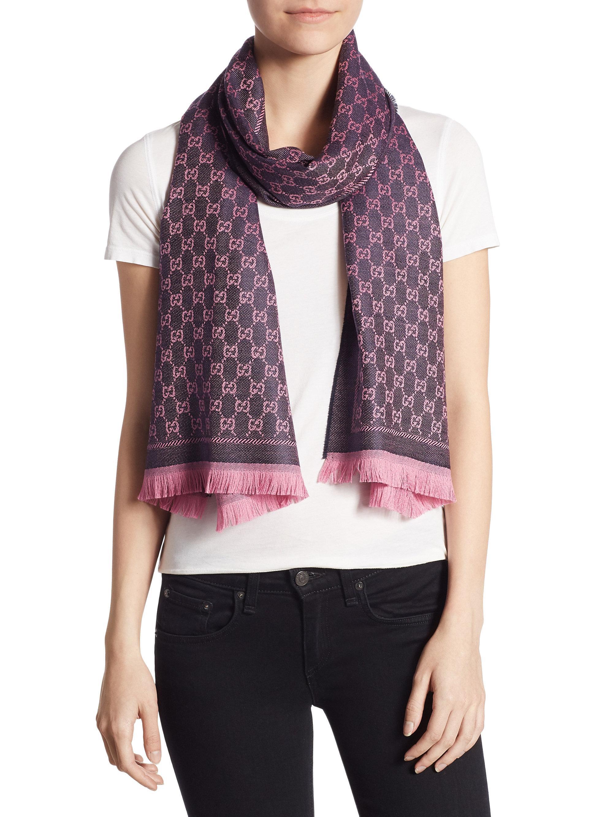 6c95cd0f79c Lyst - Gucci New Sten Gg Wool Scarf in Pink