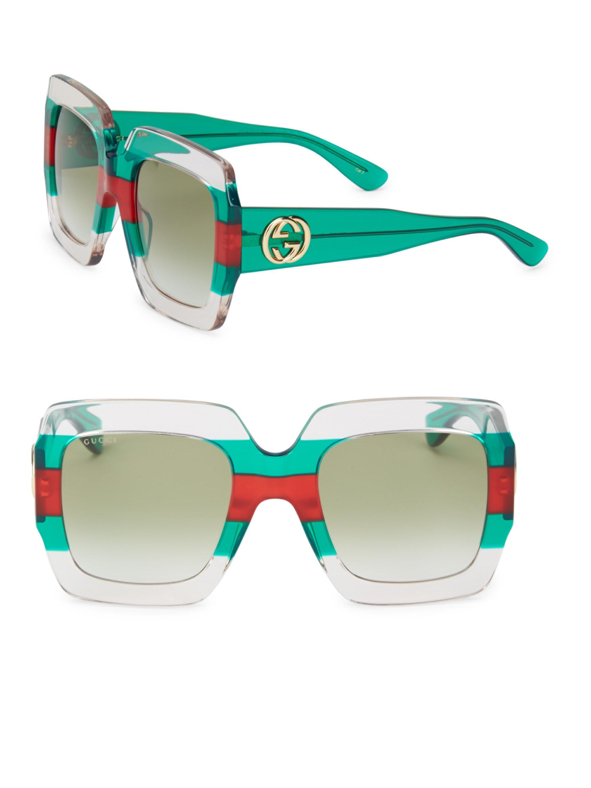 Striped Square-frame Acetate Sunglasses - Green Gucci wlg1fxyyo