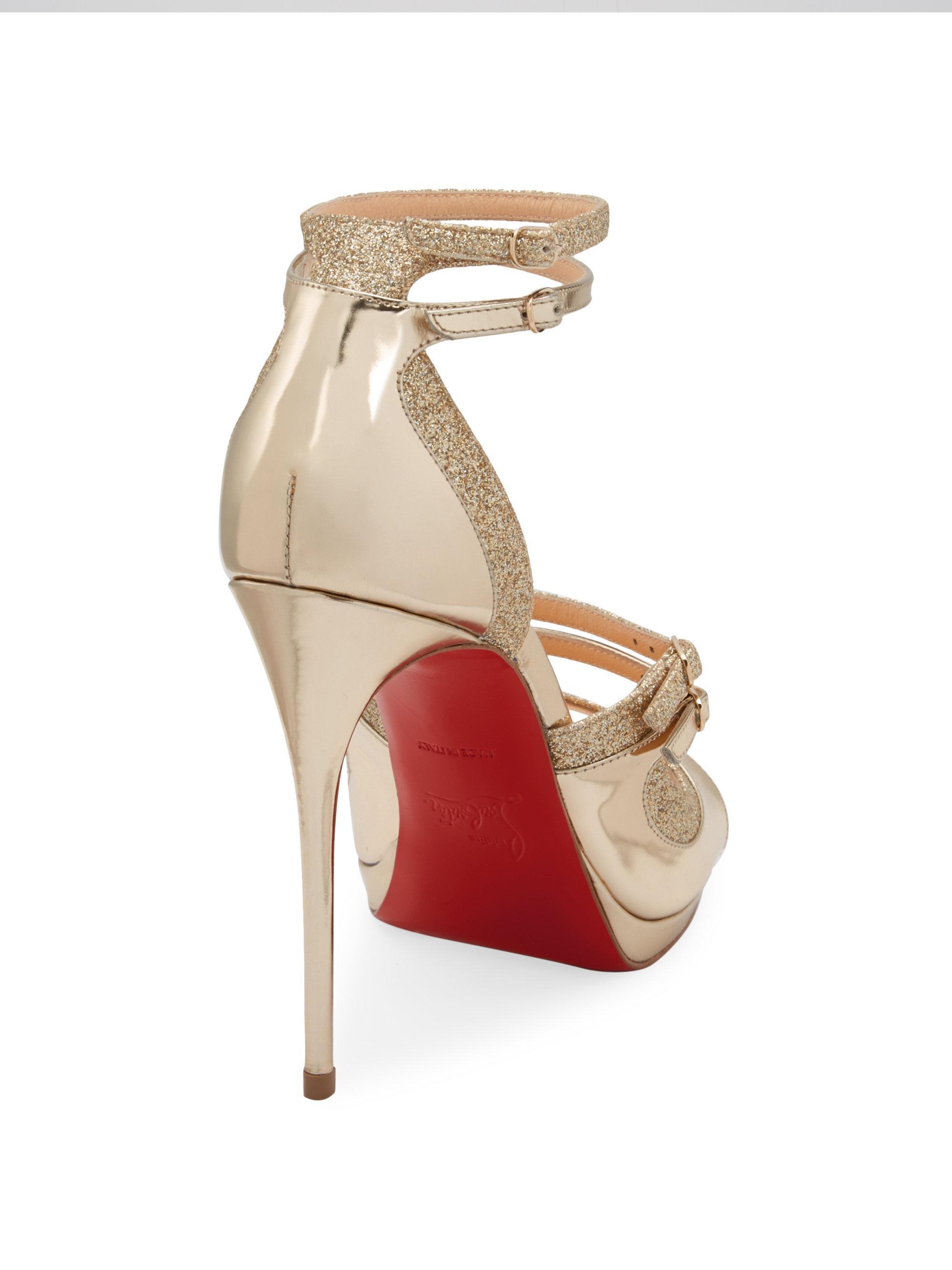 e22cb940e4c Christian Louboutin Sotto Sopra Metallic Red Sole Sandal in Metallic ...