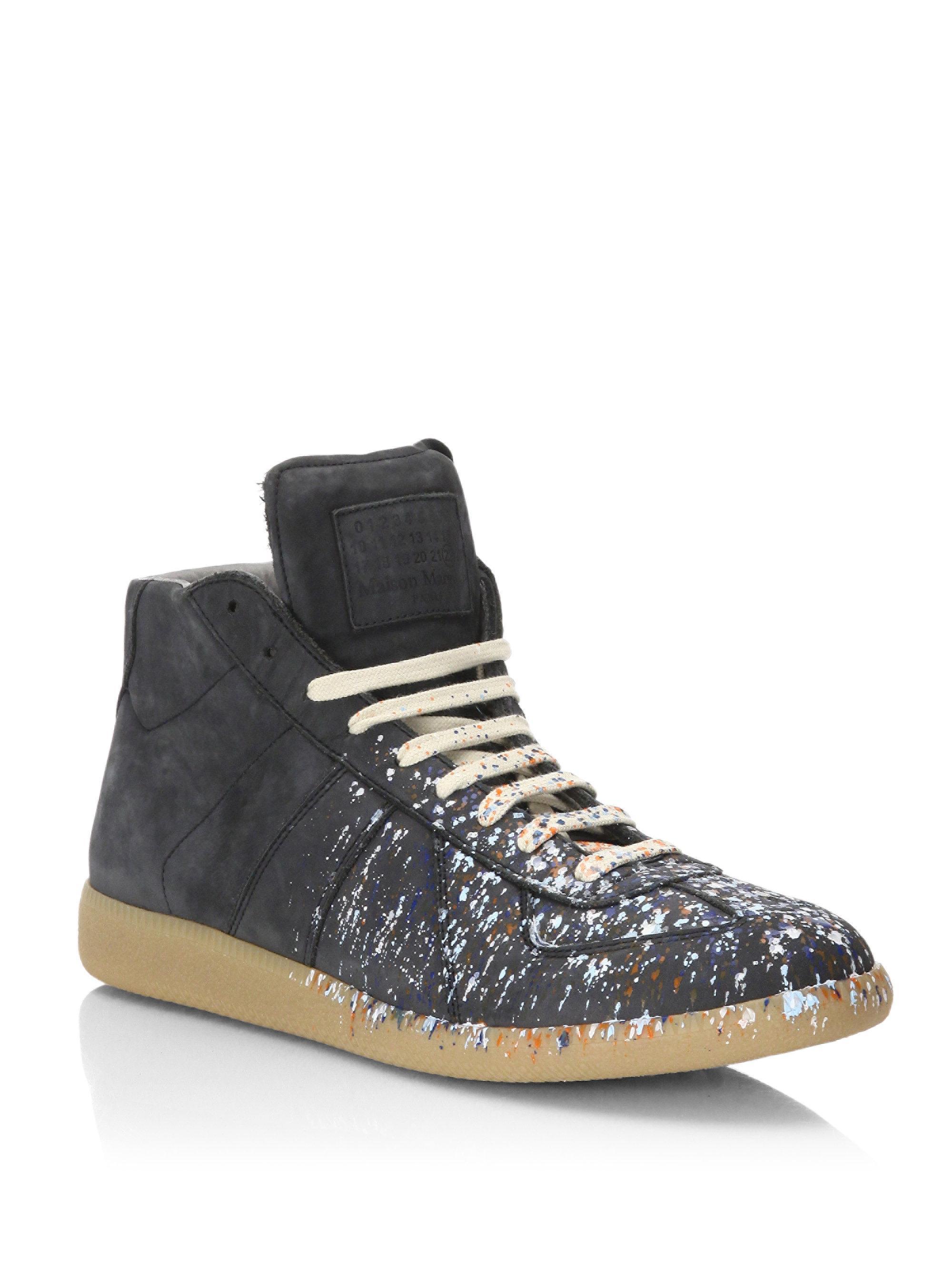 3ef703fce24 Maison Margiela Black Replica Paint Splatter Suede Mid-top Sneakers for men