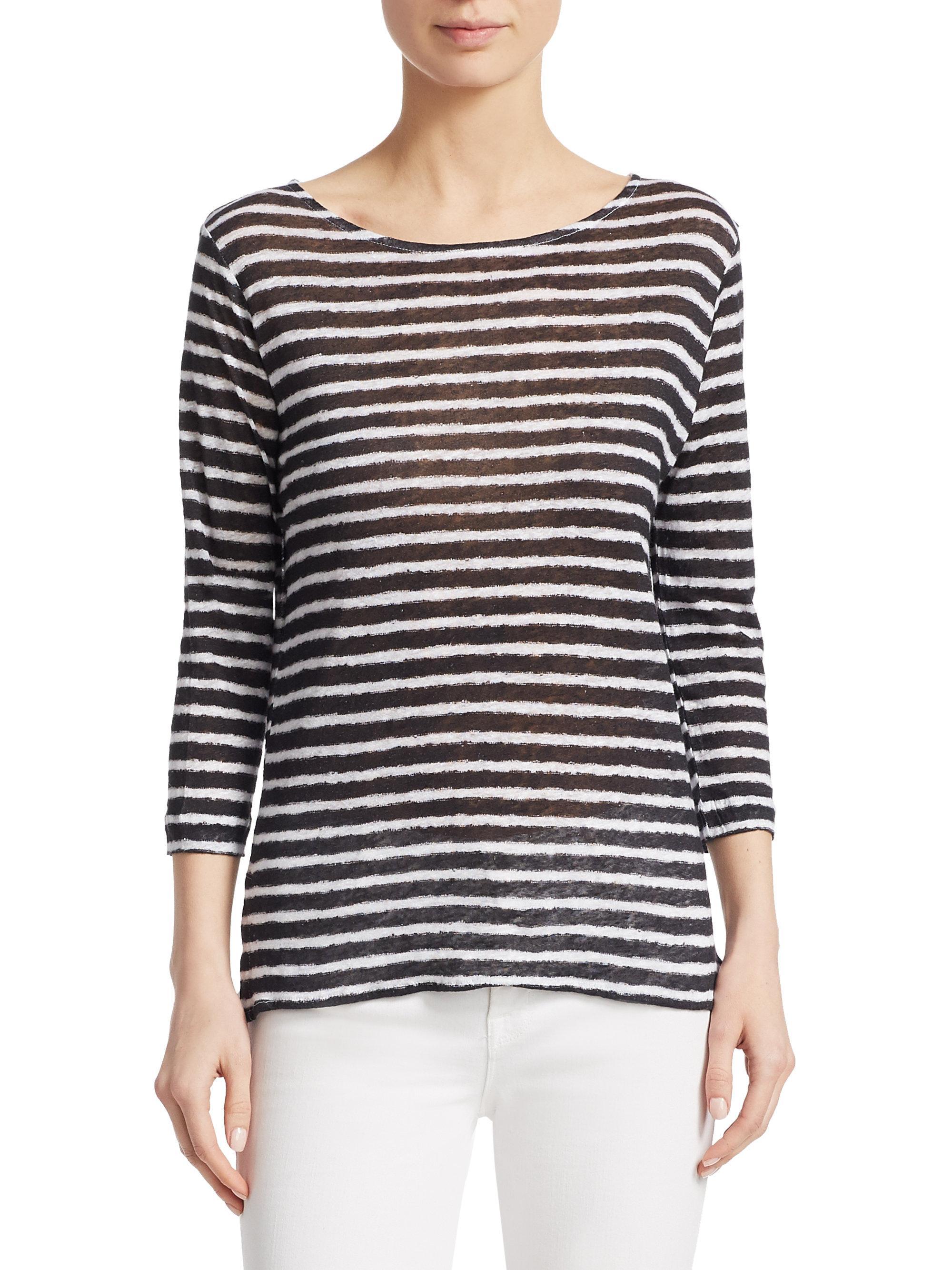 b28a6f3ce9 Lyst - Majestic Filatures Striped Linen Pullover in Black