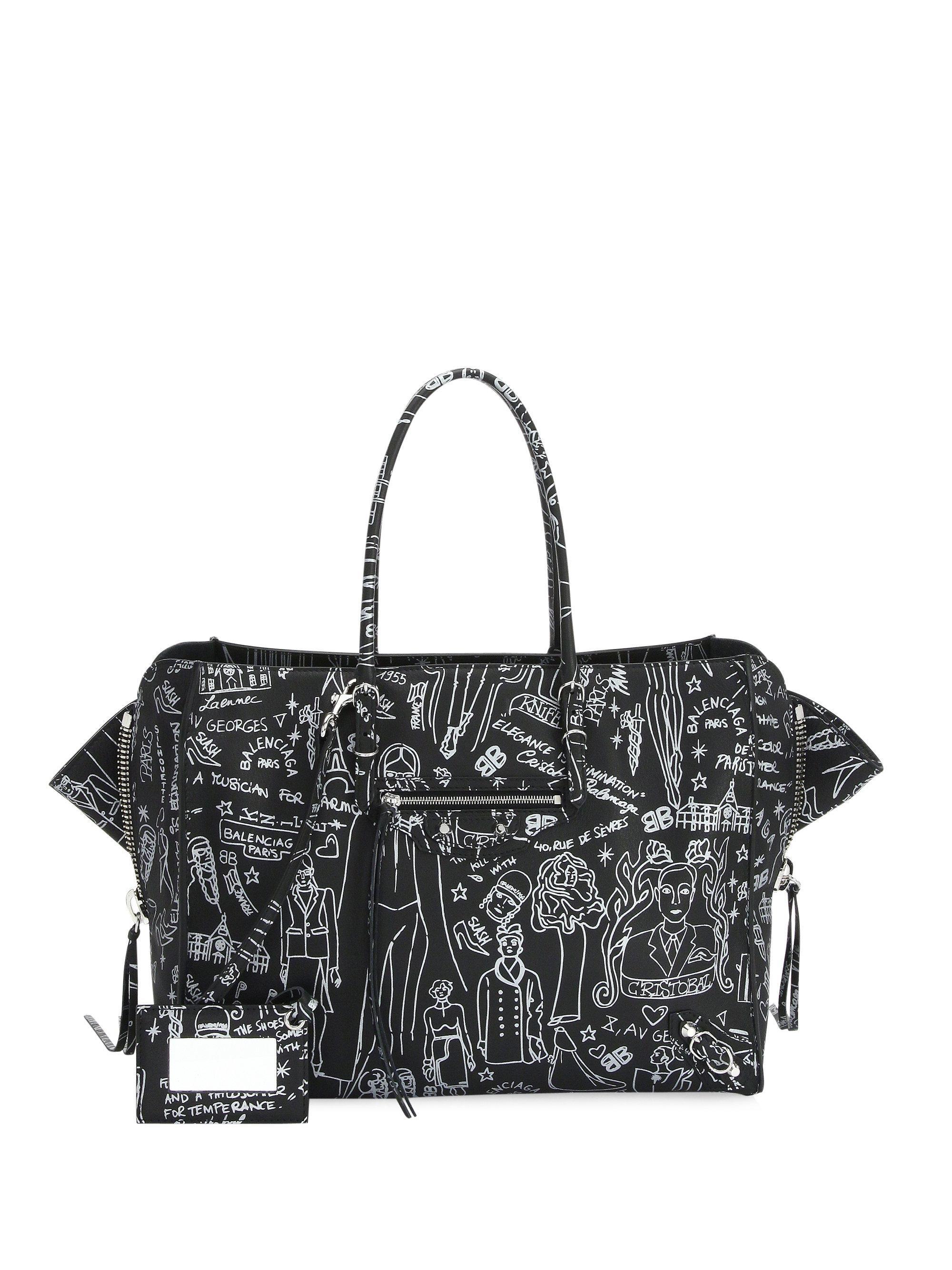 Balenciaga Metallic Papier B4 Tattoo Zip Around Handbag