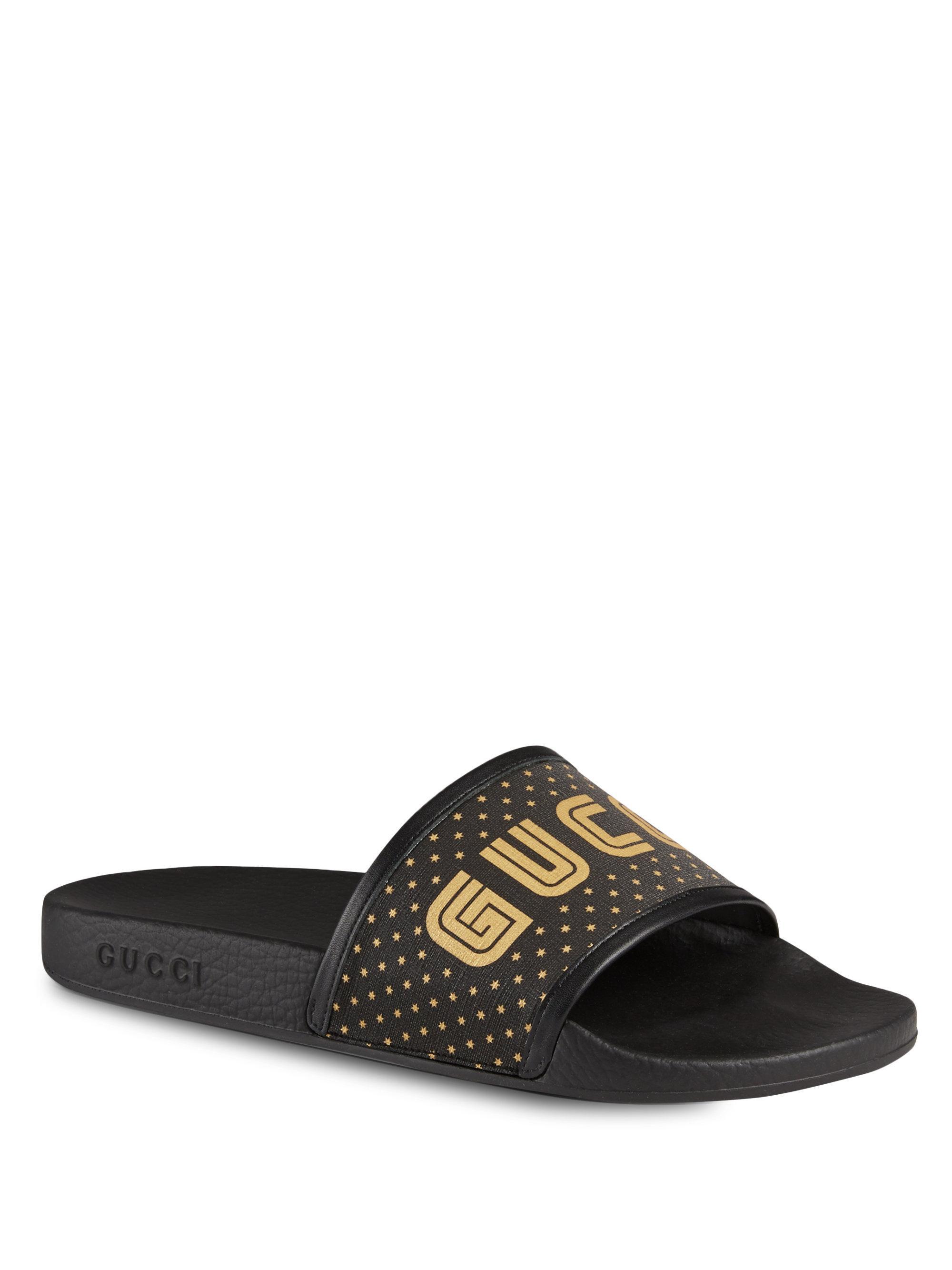 Sandals calfskin canvas Logo print black gold Gucci QU0tqY54p