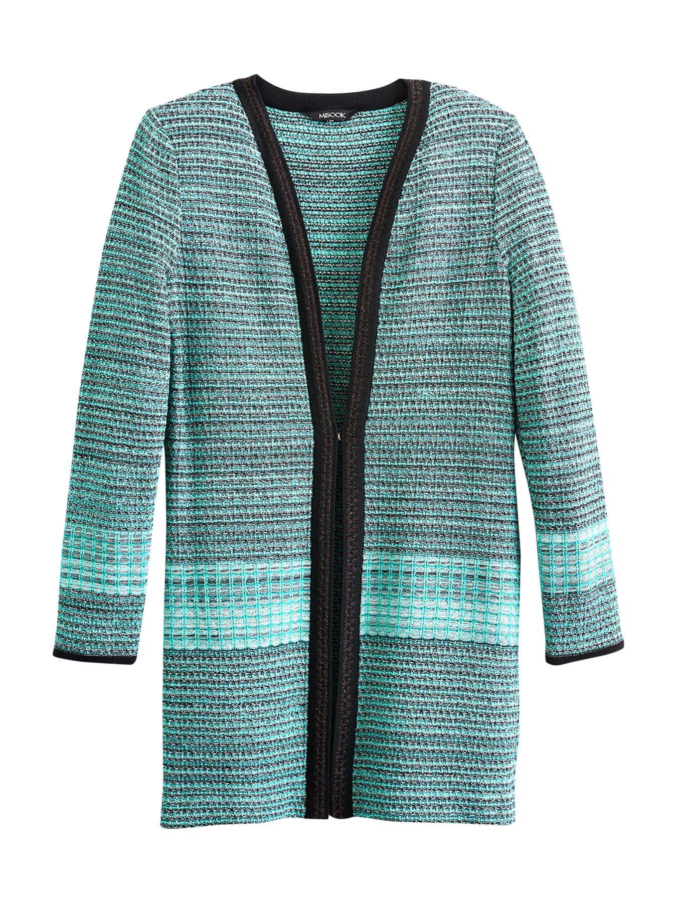Misook Sparkle Trim Tweed Duster In Green Lyst