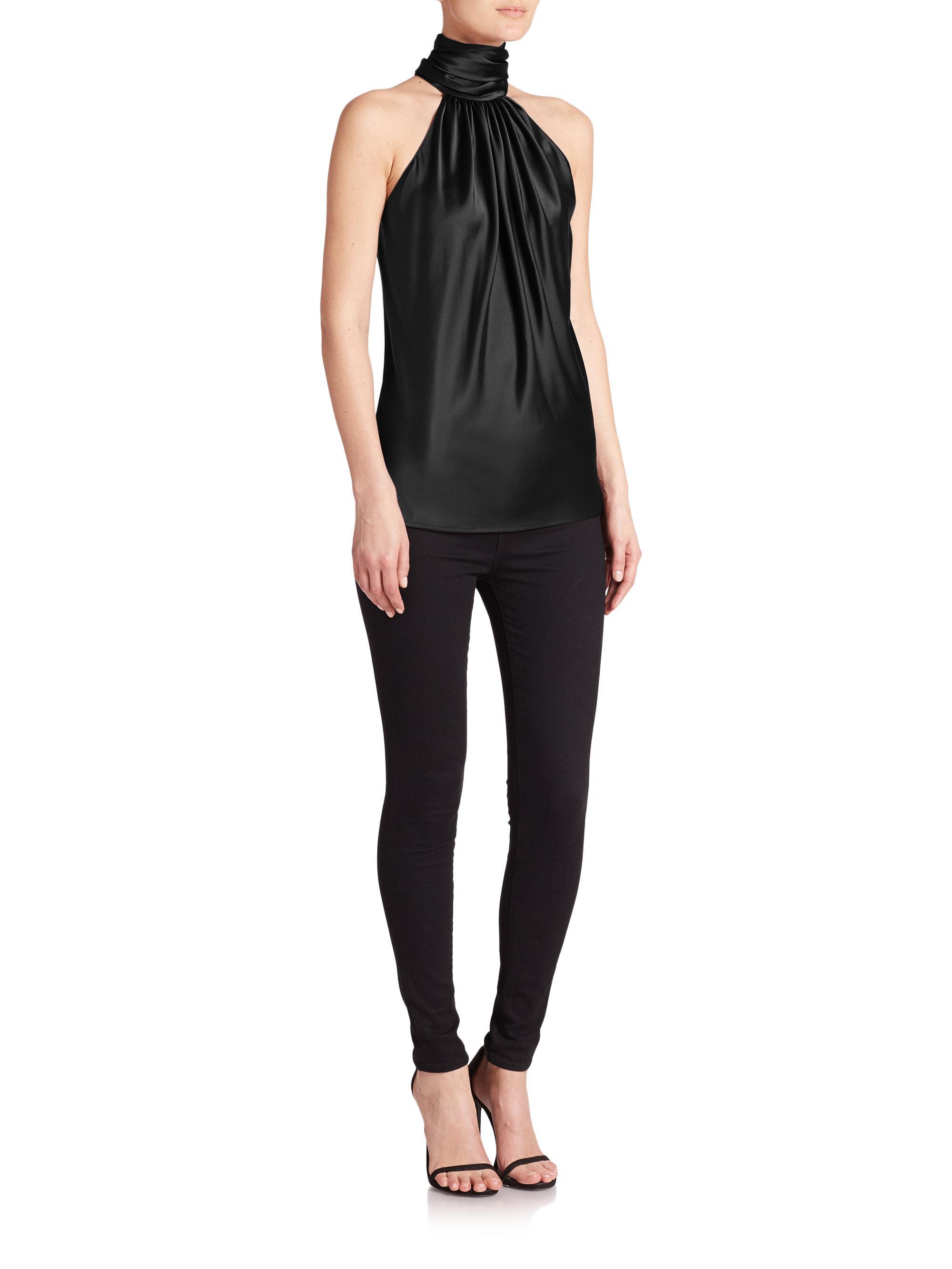 d1f8cda35d2b3d Lyst - Ramy Brook Paige Stretch-silk Halter Top in Black