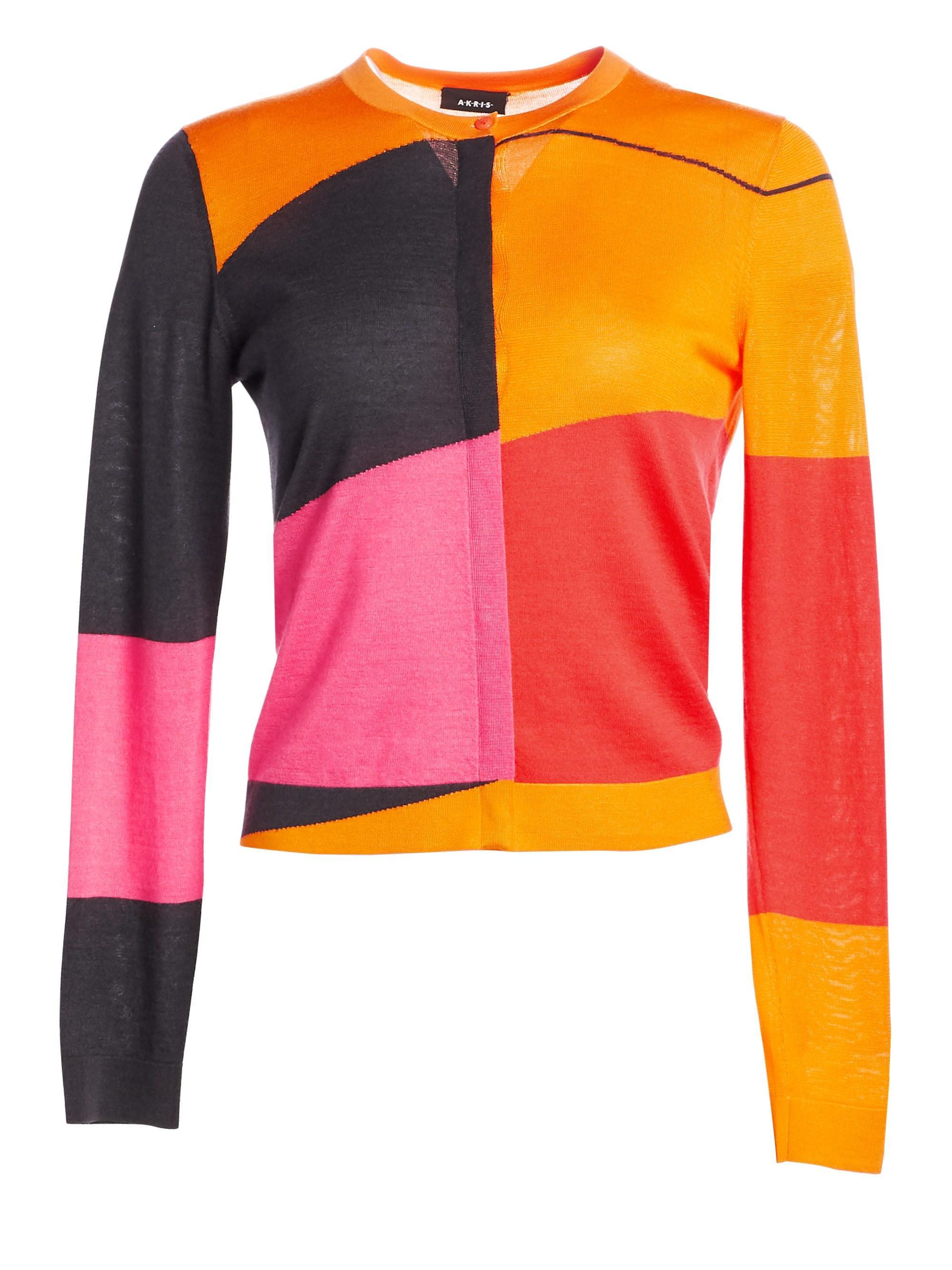 417452bc0f1e24 Lyst - Akris Women s Long Sleeve Cashmere Silk Sunrise Cardigan - Size 2