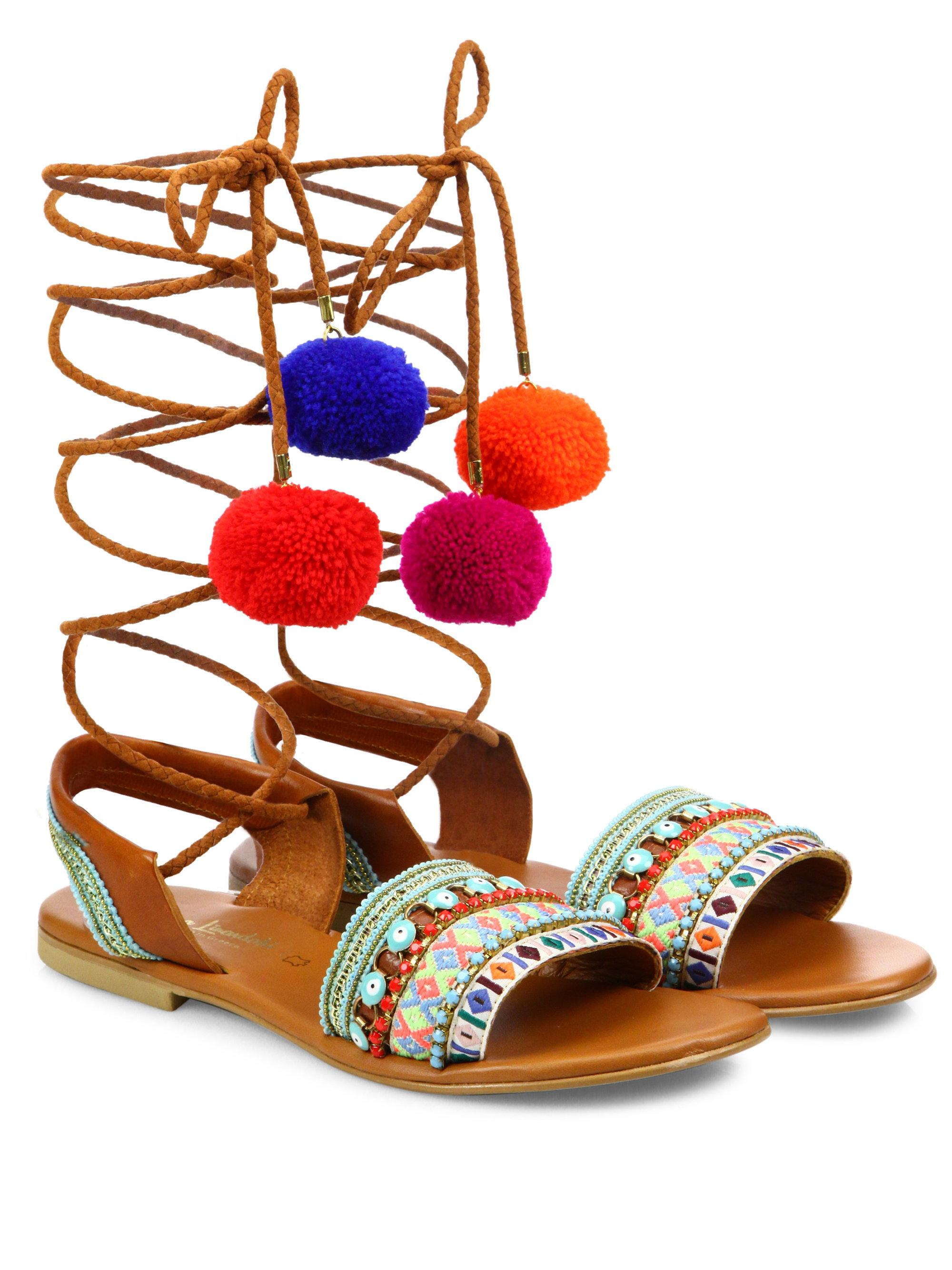 Elina Linardaki L.A. Lover Embroidered Leather High-Wrap Sandals bD3Fqj
