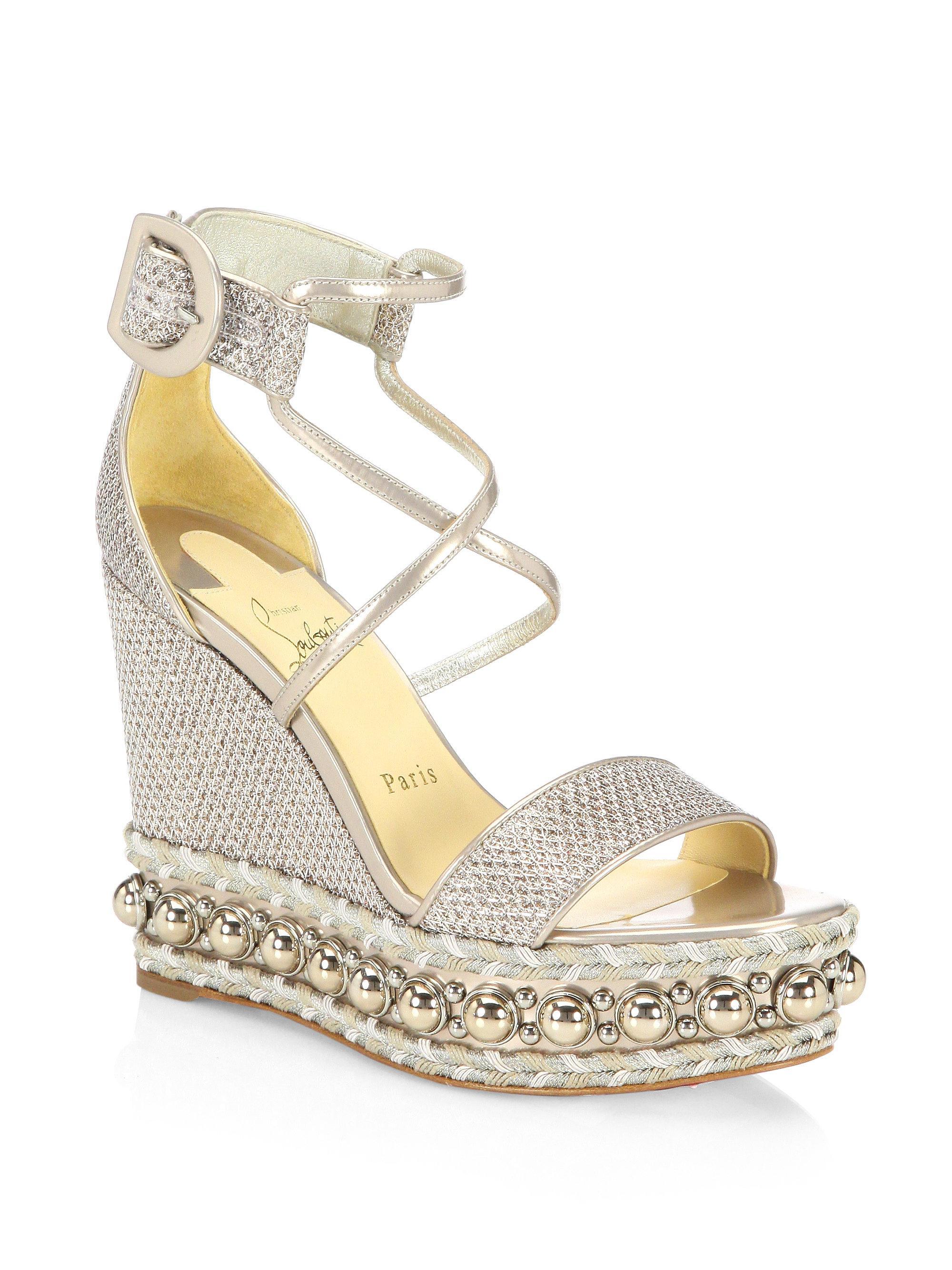 a1b839854e34 Christian Louboutin Chocazeppa Wedge Sandals in Natural - Lyst