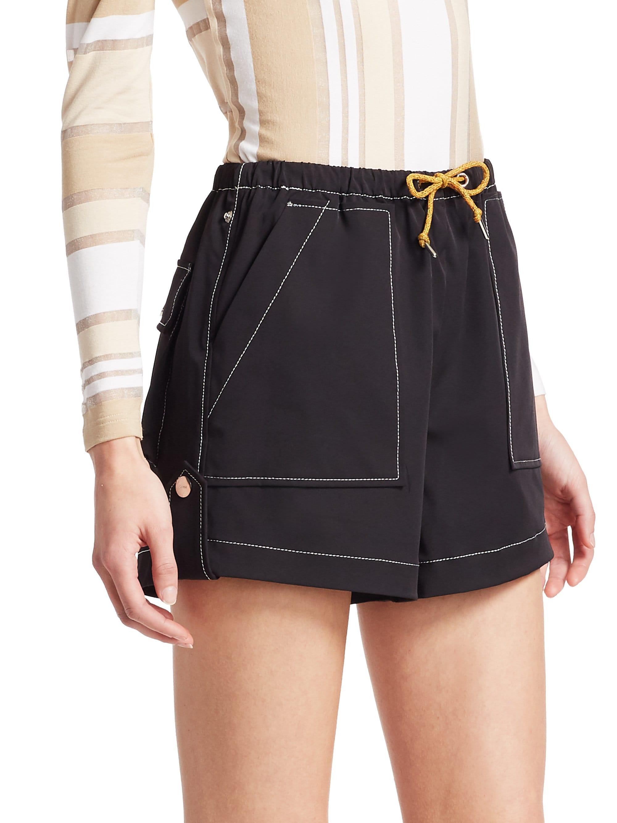 4d0eb725 Ganni Cinnober Contrast Stitching Crepe Shorts in Black - Save 39% - Lyst