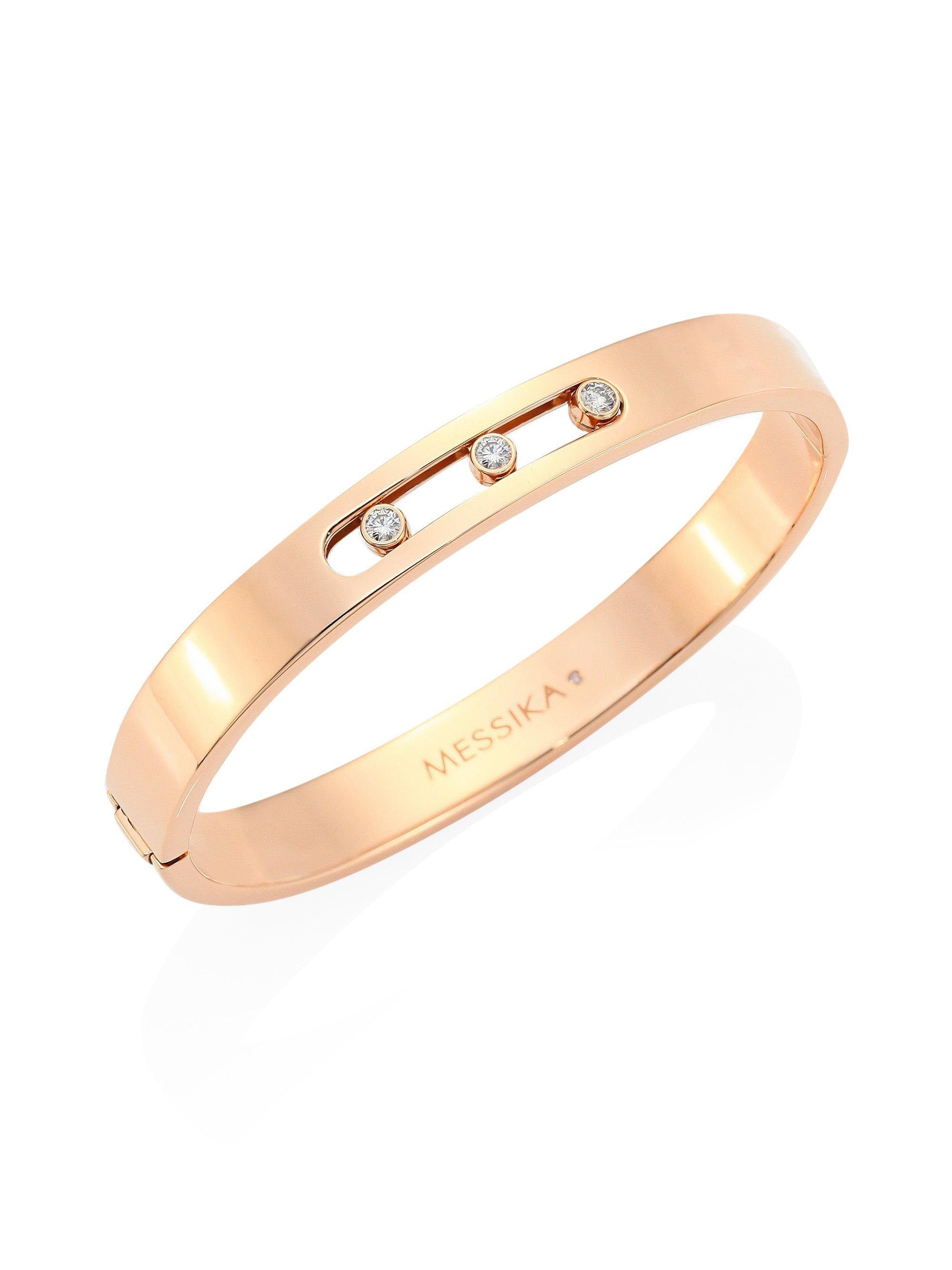 Move Noa 18-karat Pink Gold Diamond Bangle - Rose gold Messika kZnJqS4